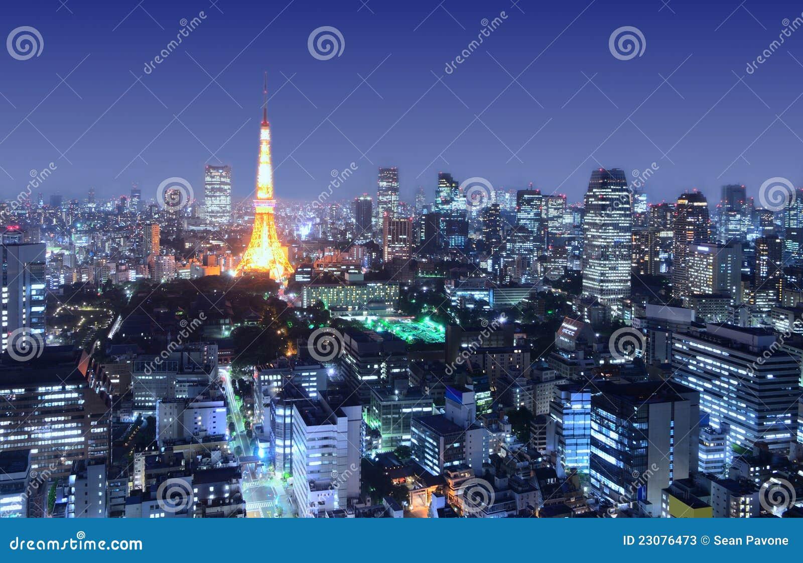 Tokyo Tower Stands Amongst The Minato-ku Cityscape Stock Photos - Image: 2307...