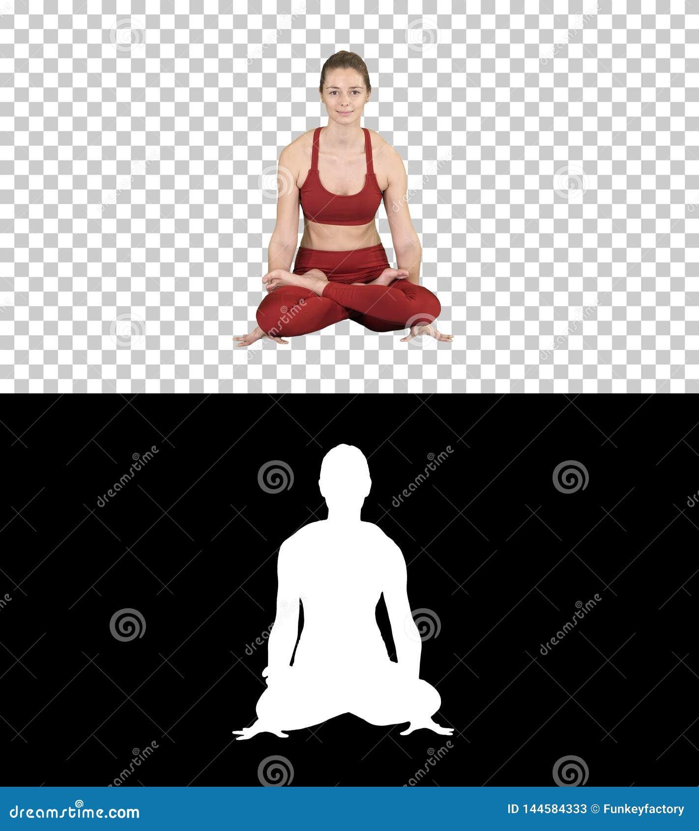 Tolasana ou mulher bonita da pose da escala para fazer a postura de assento do elevador do braço da ioga, Alpha Channel