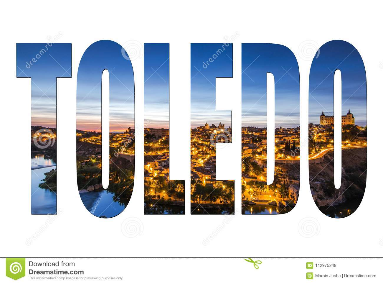 Toledo letters isolated, post card template