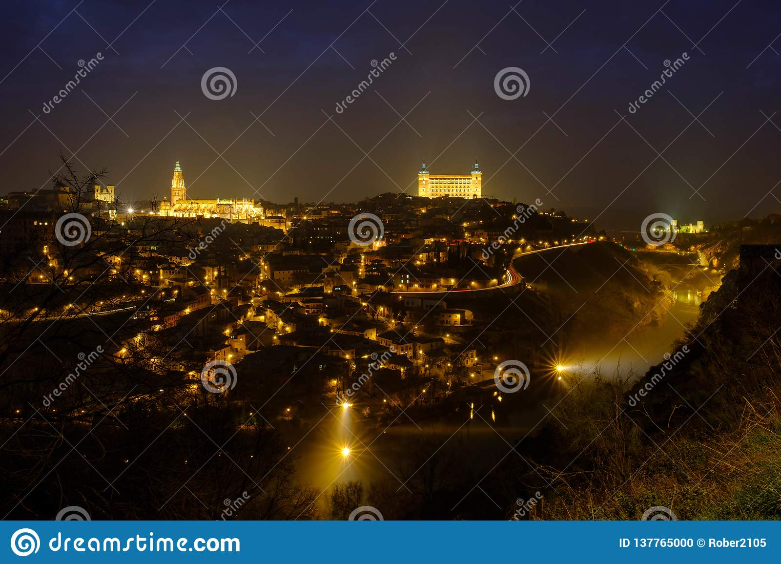 Toledo at night and foggy