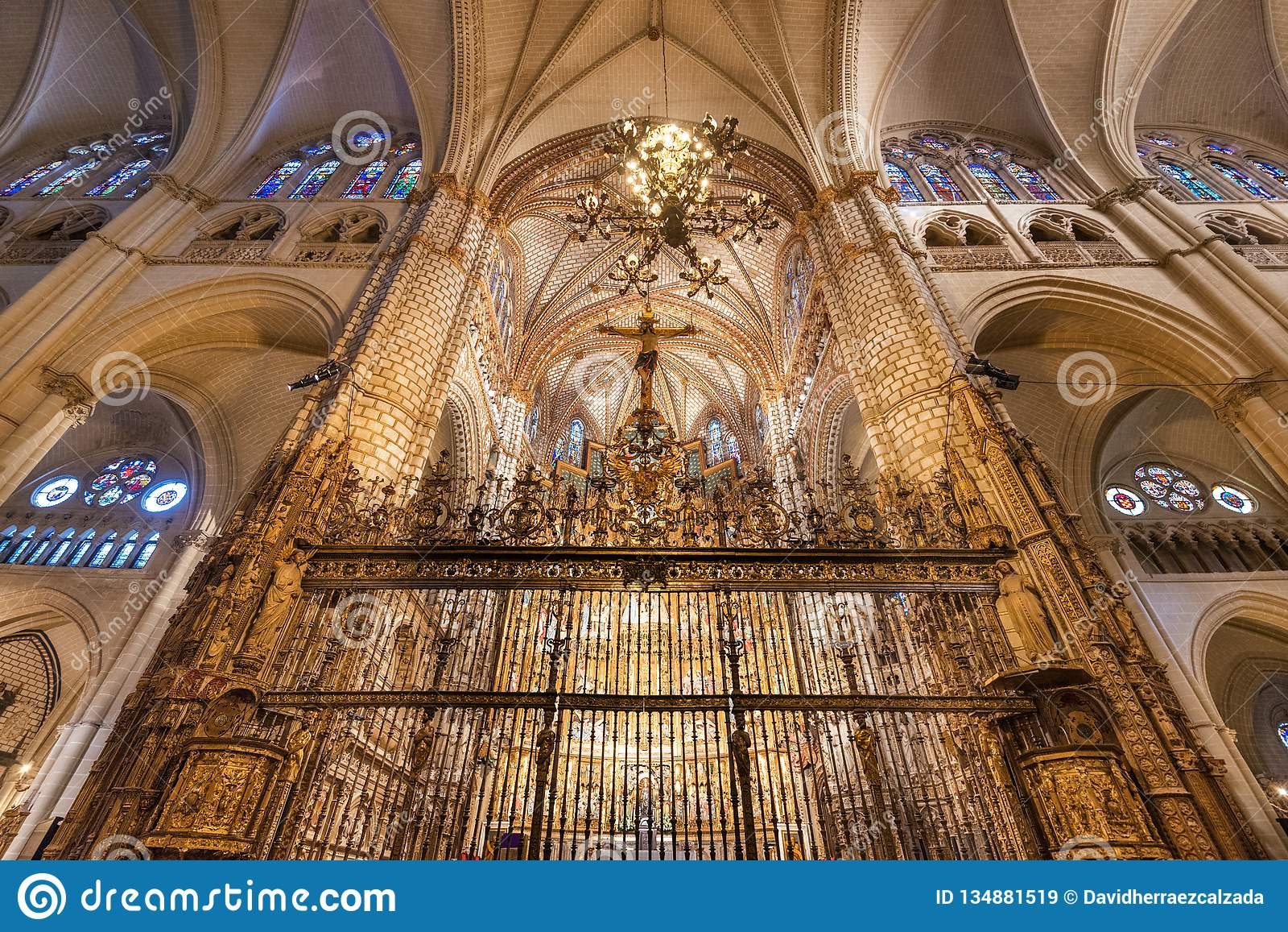 Toledo, Spain - December 16, 2018 : Interior of Toledo cathedral in historic medieval city of Toledo