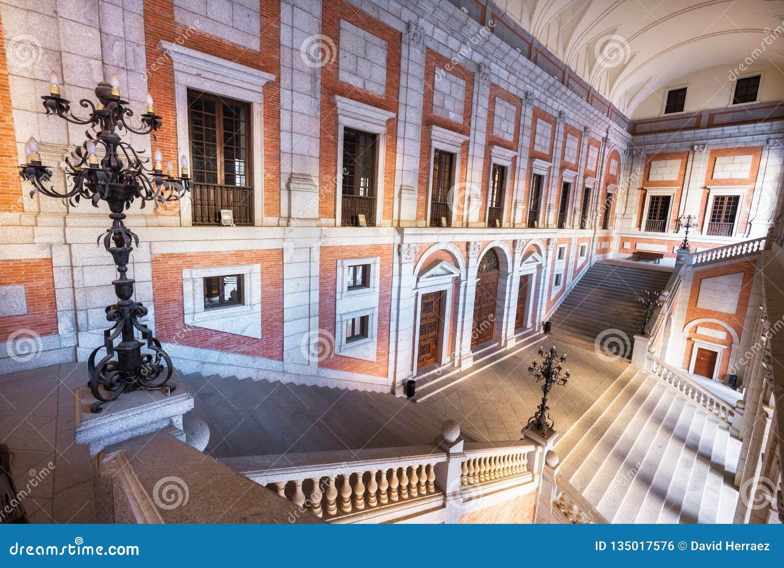 Toledo, Spain - December 16, 2018: Interior courtyard of Alcazar of Toledo, Castilla la Mancha, Spain