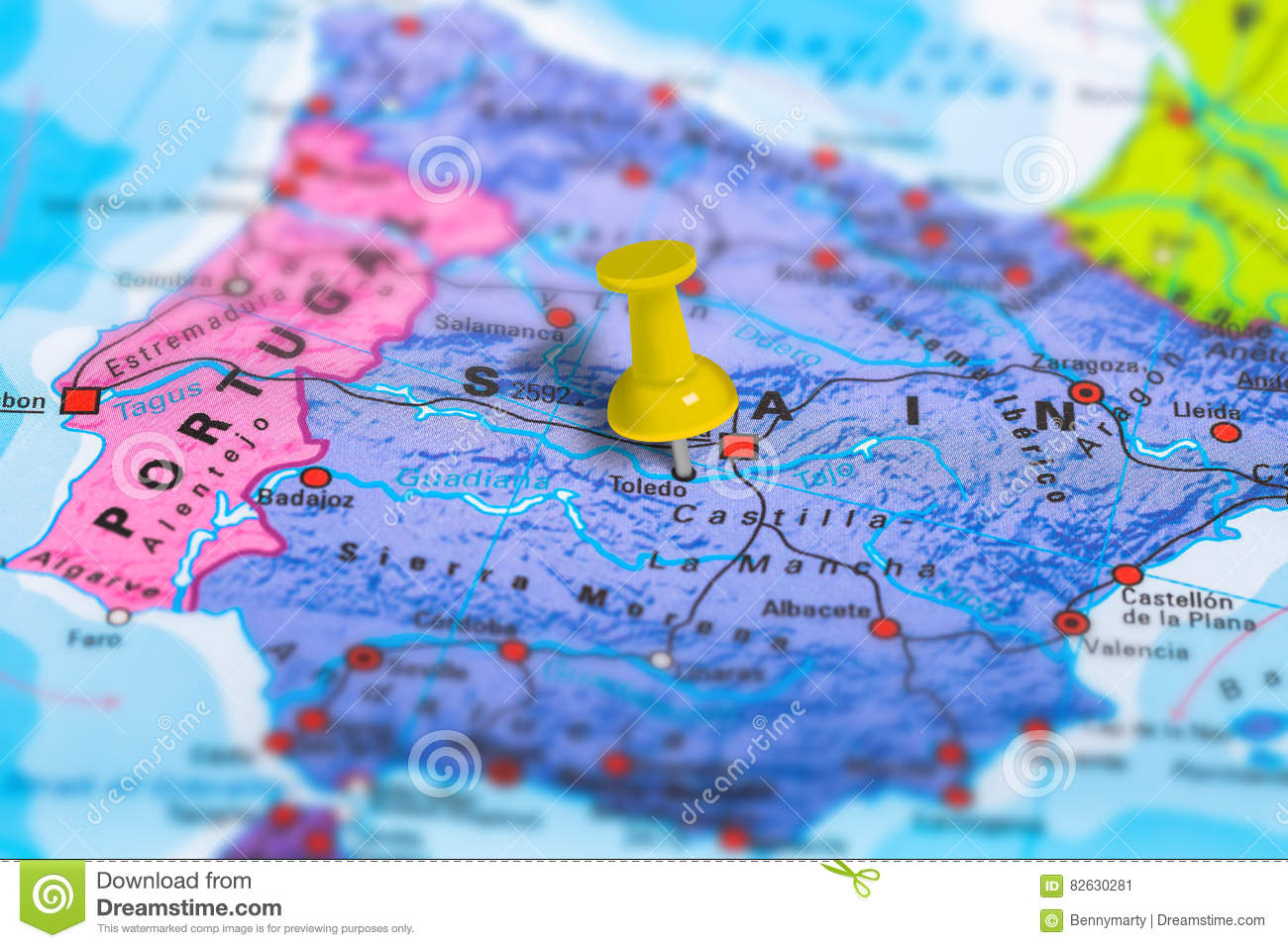 Toledo Spain Map Stock Image Image Of Marking Geographical 82630281