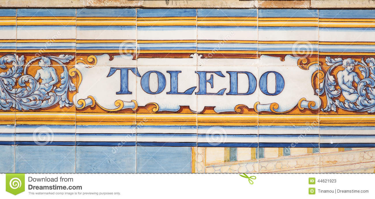 Toledo written on azulejos stock photo image 44621923 for Azulejos toledo