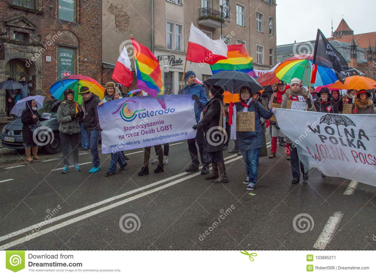 Download Tolerado LGBT Organisation At National Independence Day In Gdansk In Poland. Celebrates 99th A Editorial Photo - Image of national, patriotism: 103895271
