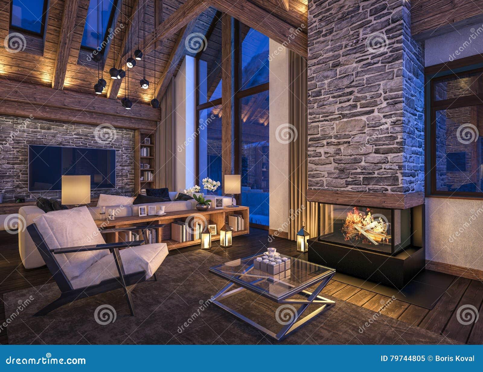 Tolkning 3D av aftonvardagsrum av chalet