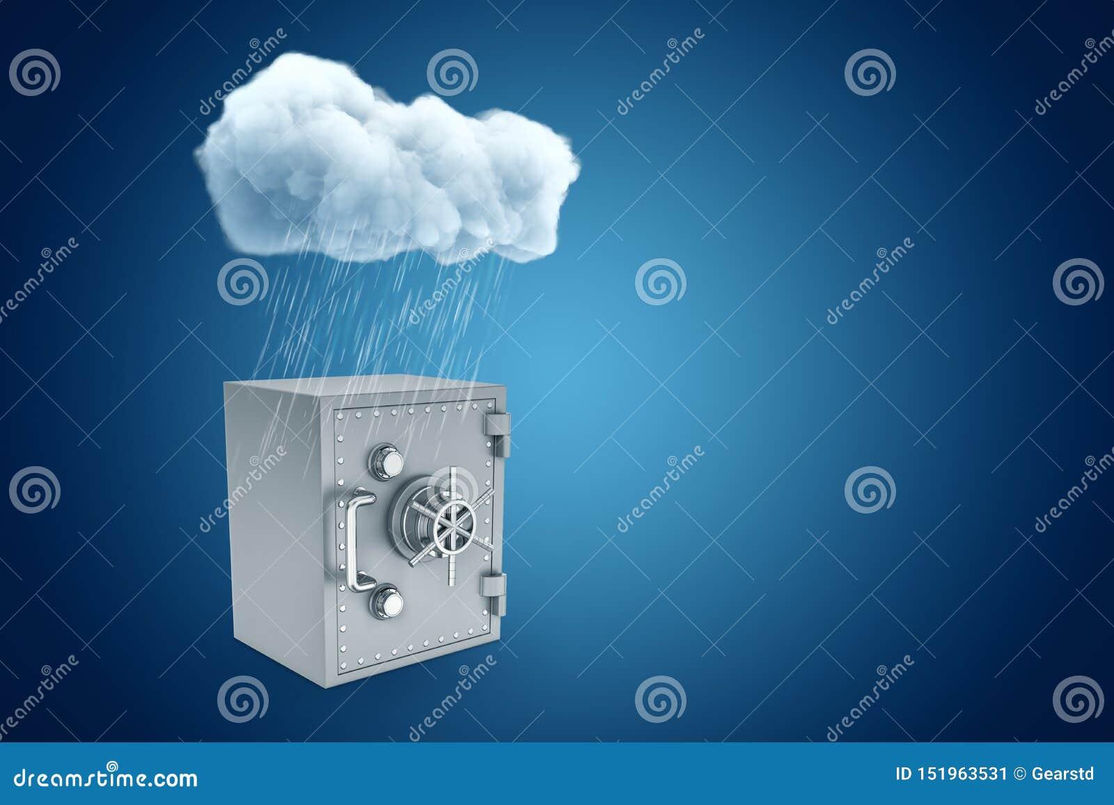 Tolkning 3d av det vita regniga molnet ovanför den gråa metallbanken som är säker på blå bakgrund