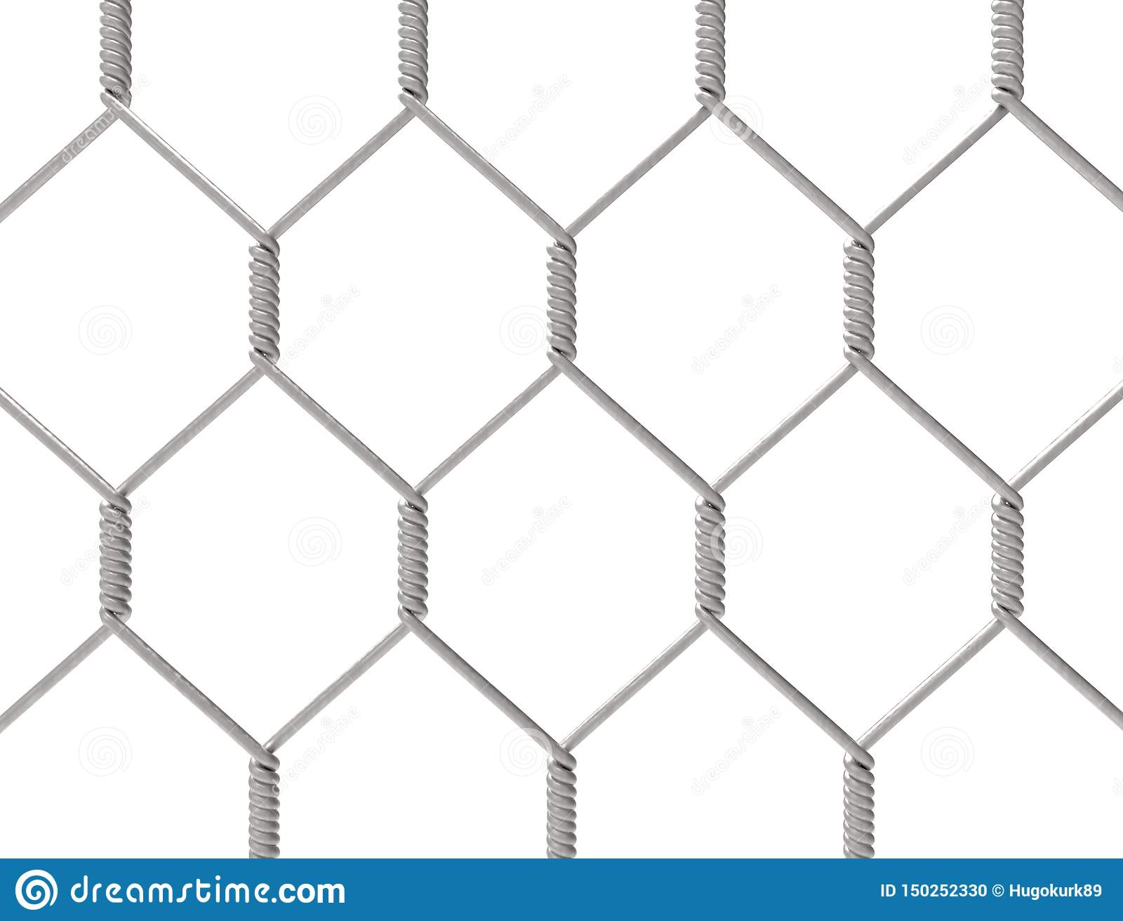 Tolkning 3d av ett metallstaket som isoleras på vit bakgrund