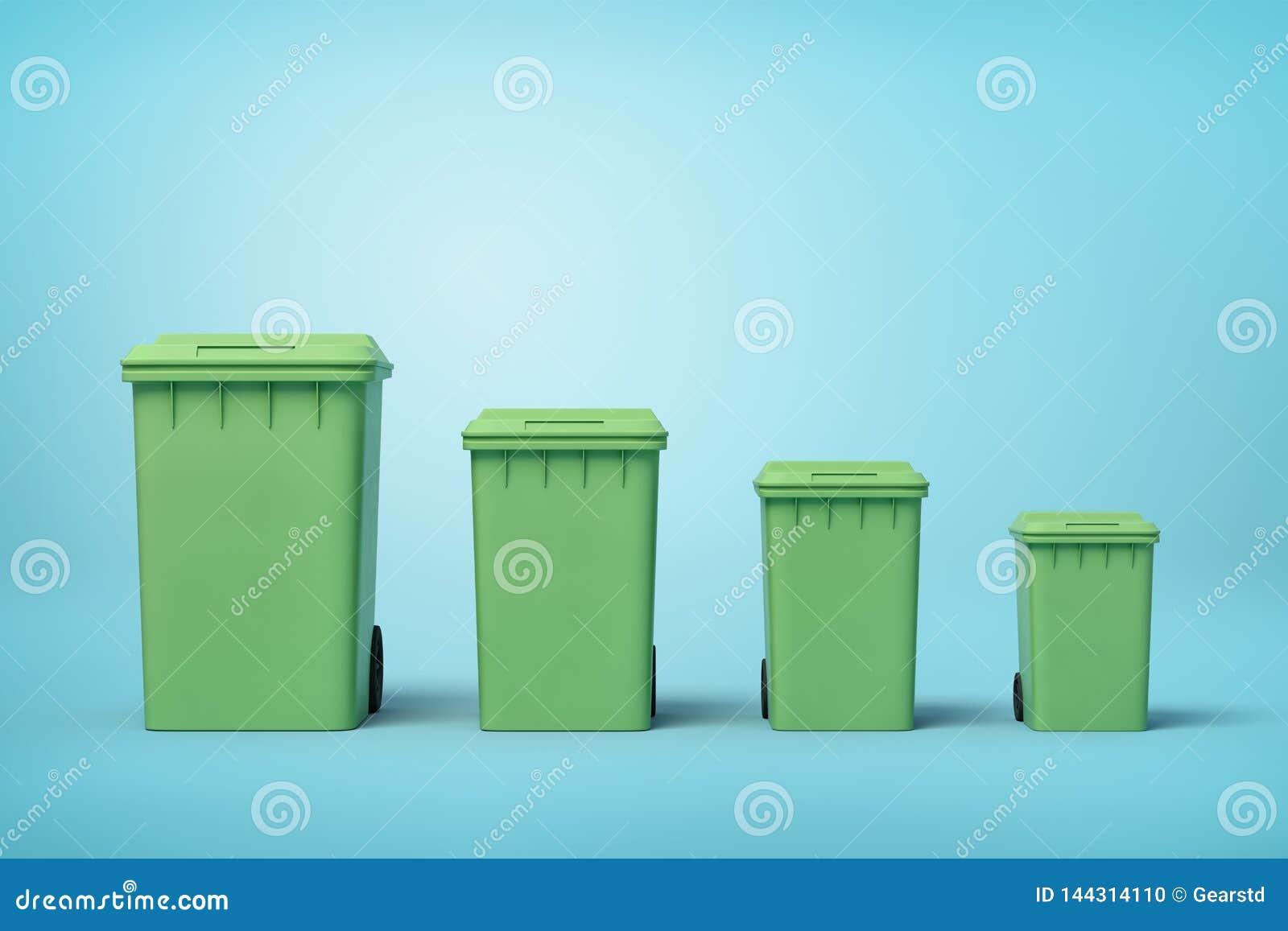 Tolkning 3d av fyra gröna soptunnor i rad enligt format från störst till minst på ljusblå bakgrund