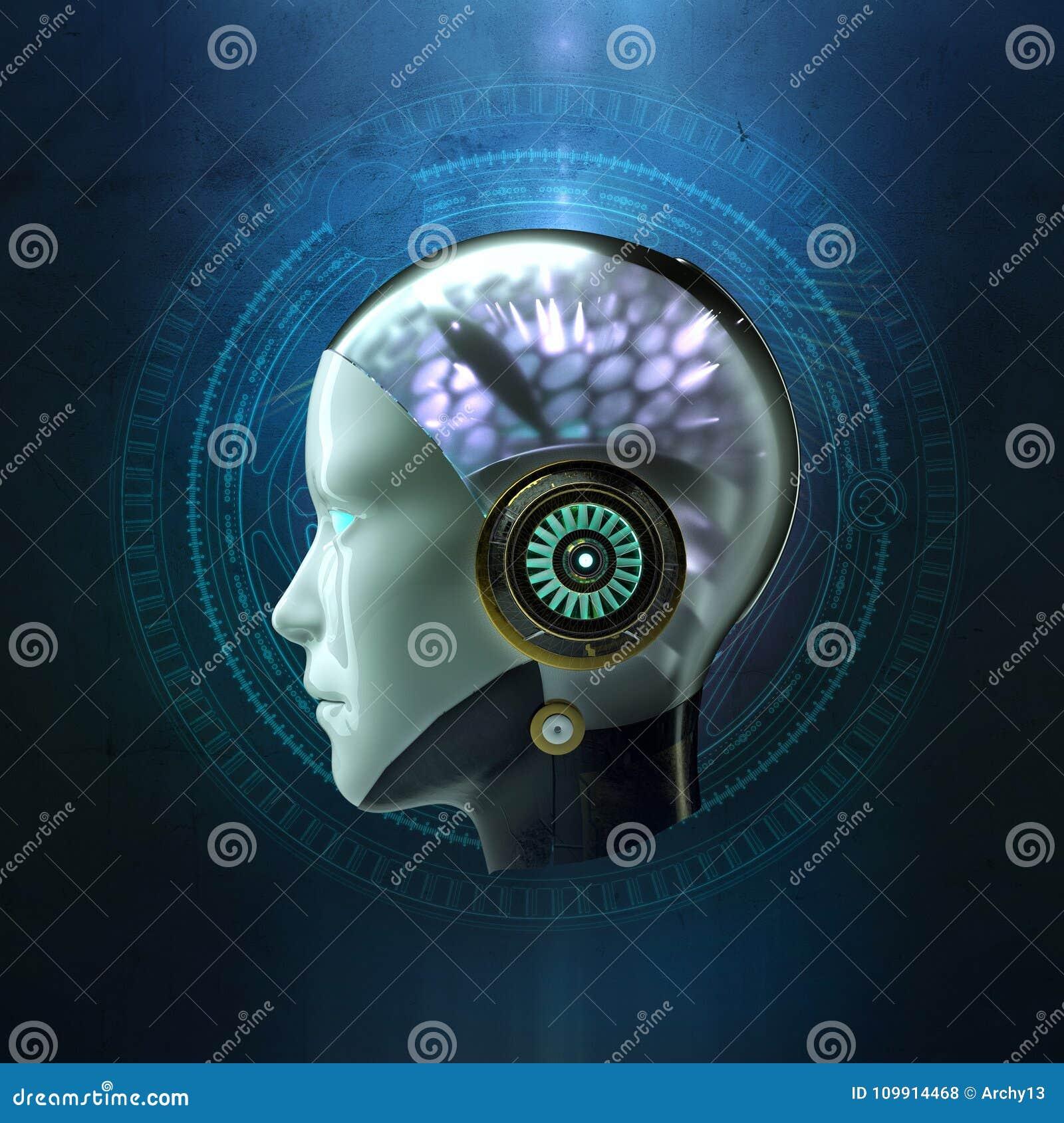 Tolkning 3D av huvudet av en kvinnlig robot med den glödande hjärnan för cyber för konstgjord intelligens för ai för hög tech på