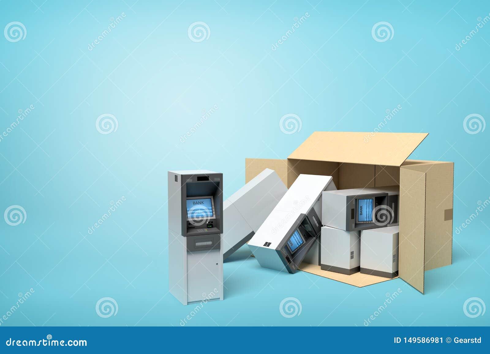 Tolkning 3d av kartongen som ligger som är sido- med flera ATMs inom och någon yttersida på ljusblå bakgrund med