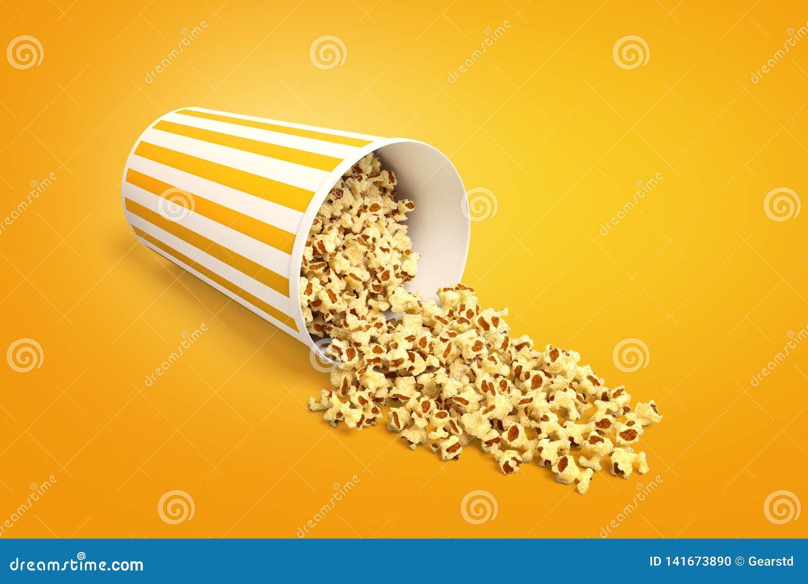 Tolkning 3d av ligga för popcornhink som är sido- med något popcorn som ut spills