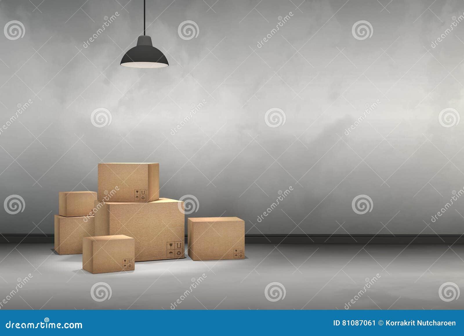 Tolkning 3D: illustrationen av flyttningen boxas på ett nytt kontor home nytt Inre flyttninghus med kartonger
