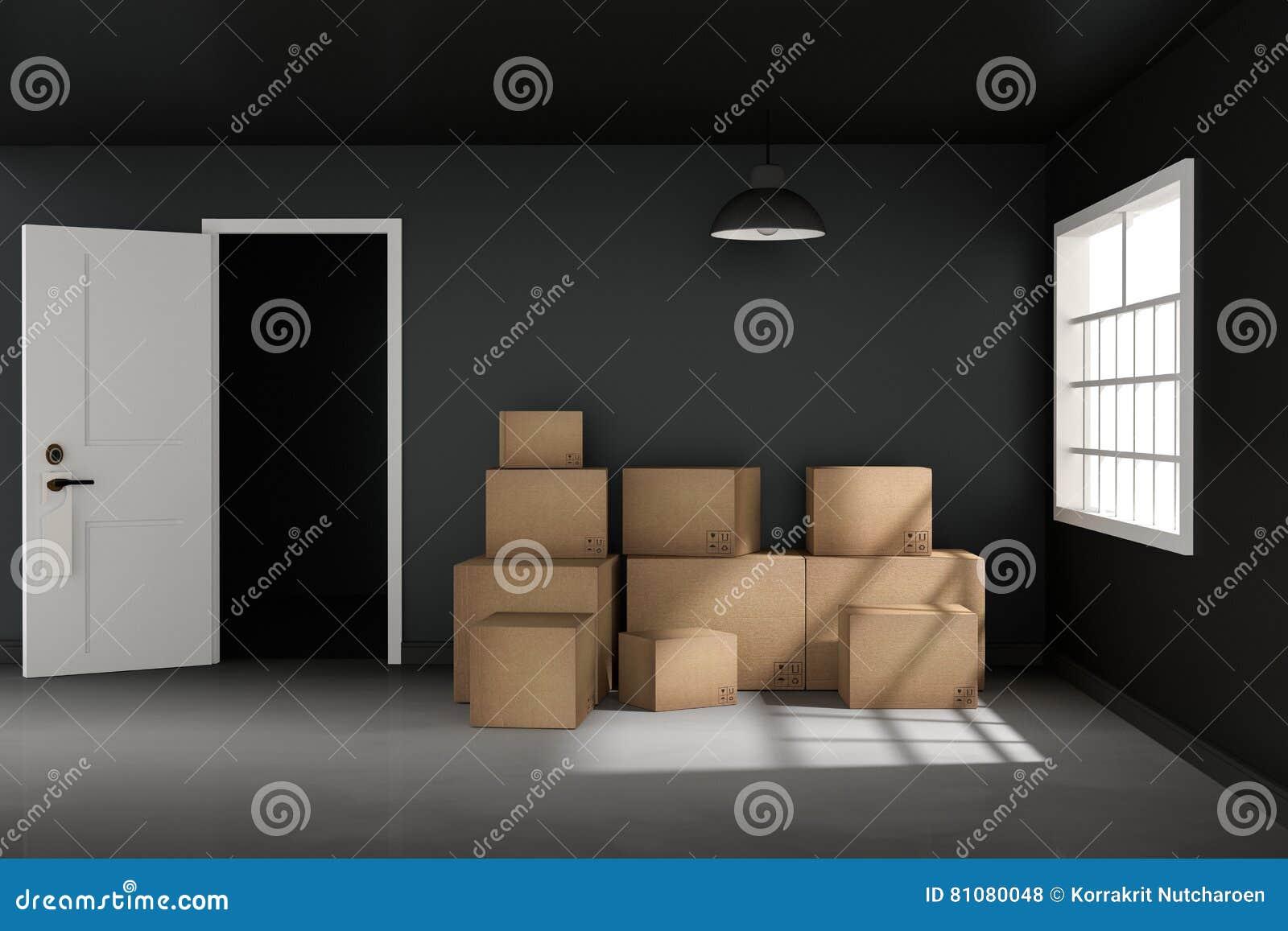 Tolkning 3D: illustrationen av flyttningen boxas på ett nytt kontor home nytt Inre flyttninghus med kartonger ljus yttersida