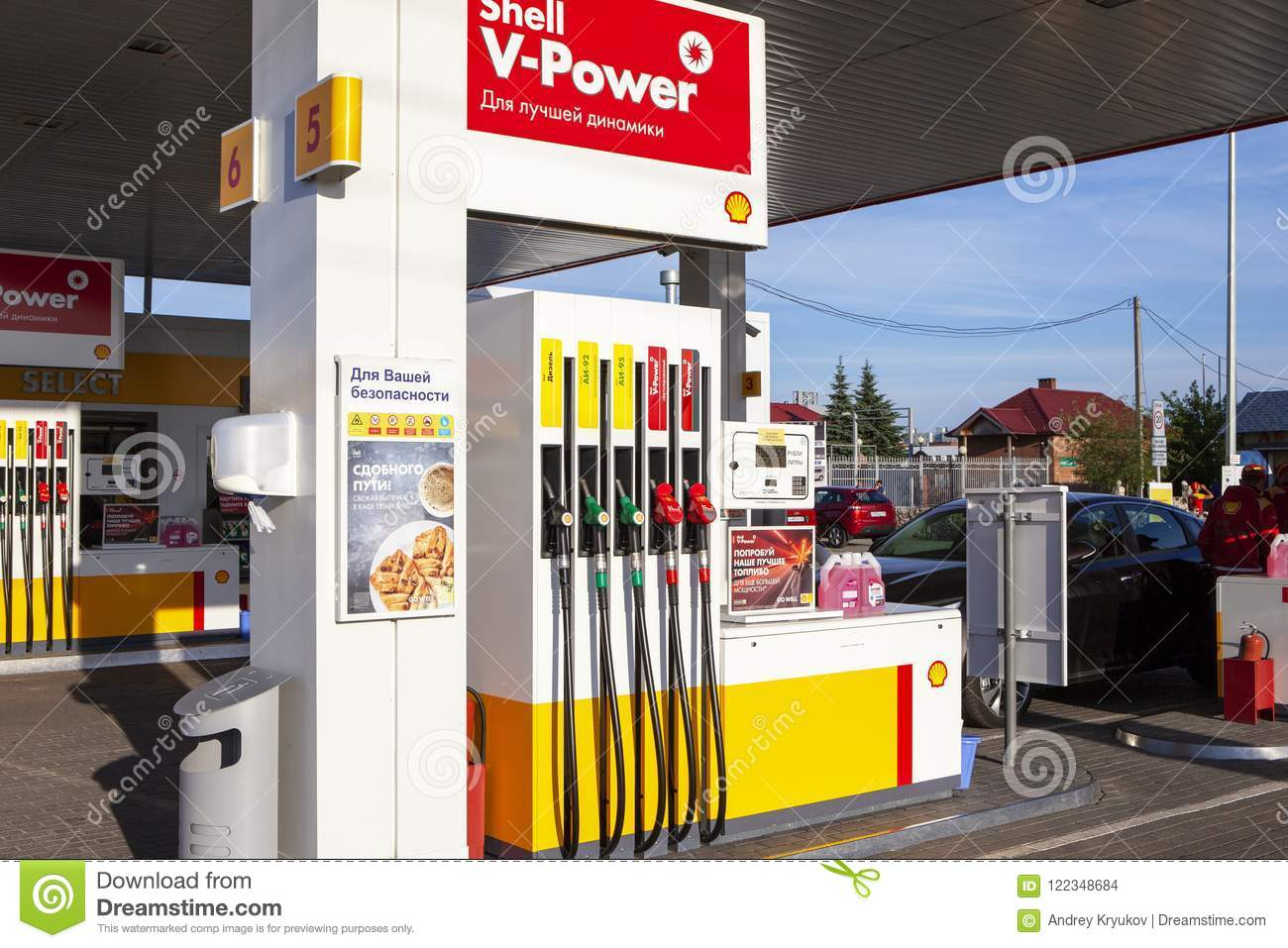 TOLYATTI, RUSSIA, JUNE 14, 2018: FUEL AND GAS STATION, PETROL PUMP.