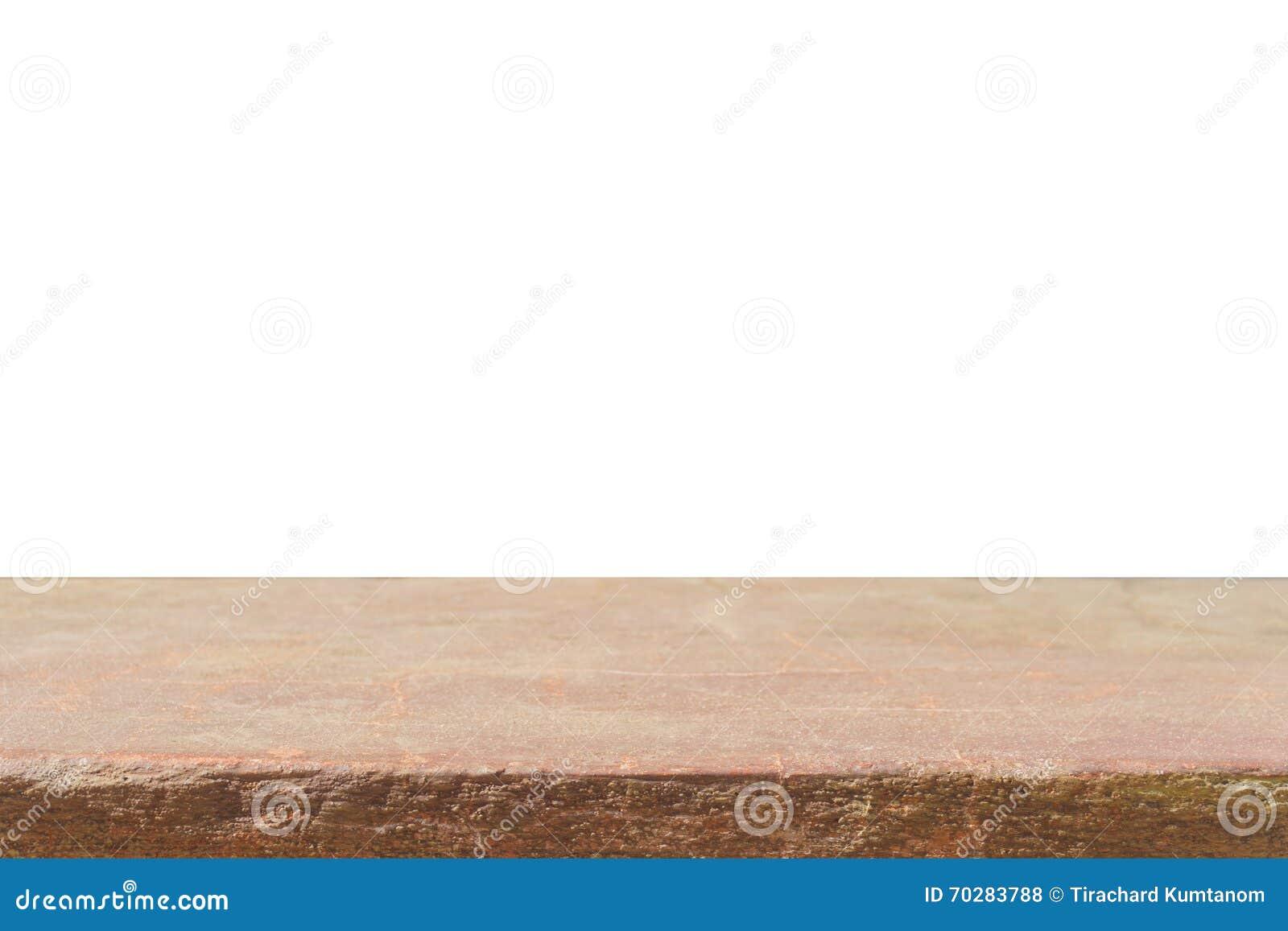 Tom överkant av den bruna den sandstencountertopen eller tabellen som isoleras på wh
