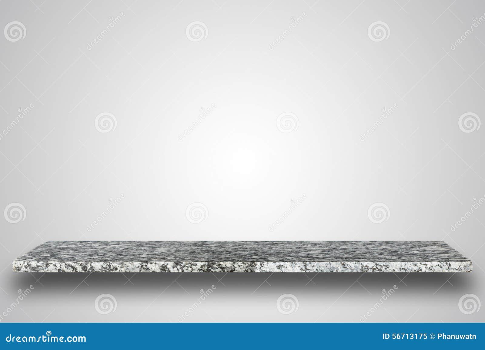 Tom överkant av den naturliga stentabellen eller räknaren på tom bakgrund