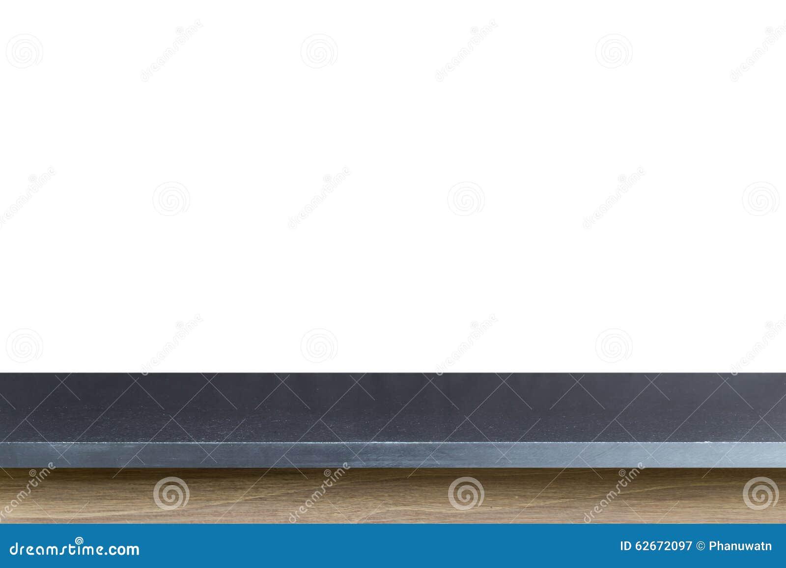Tom överkant av den svarta granitstentabellen som isoleras på den vita backgroen