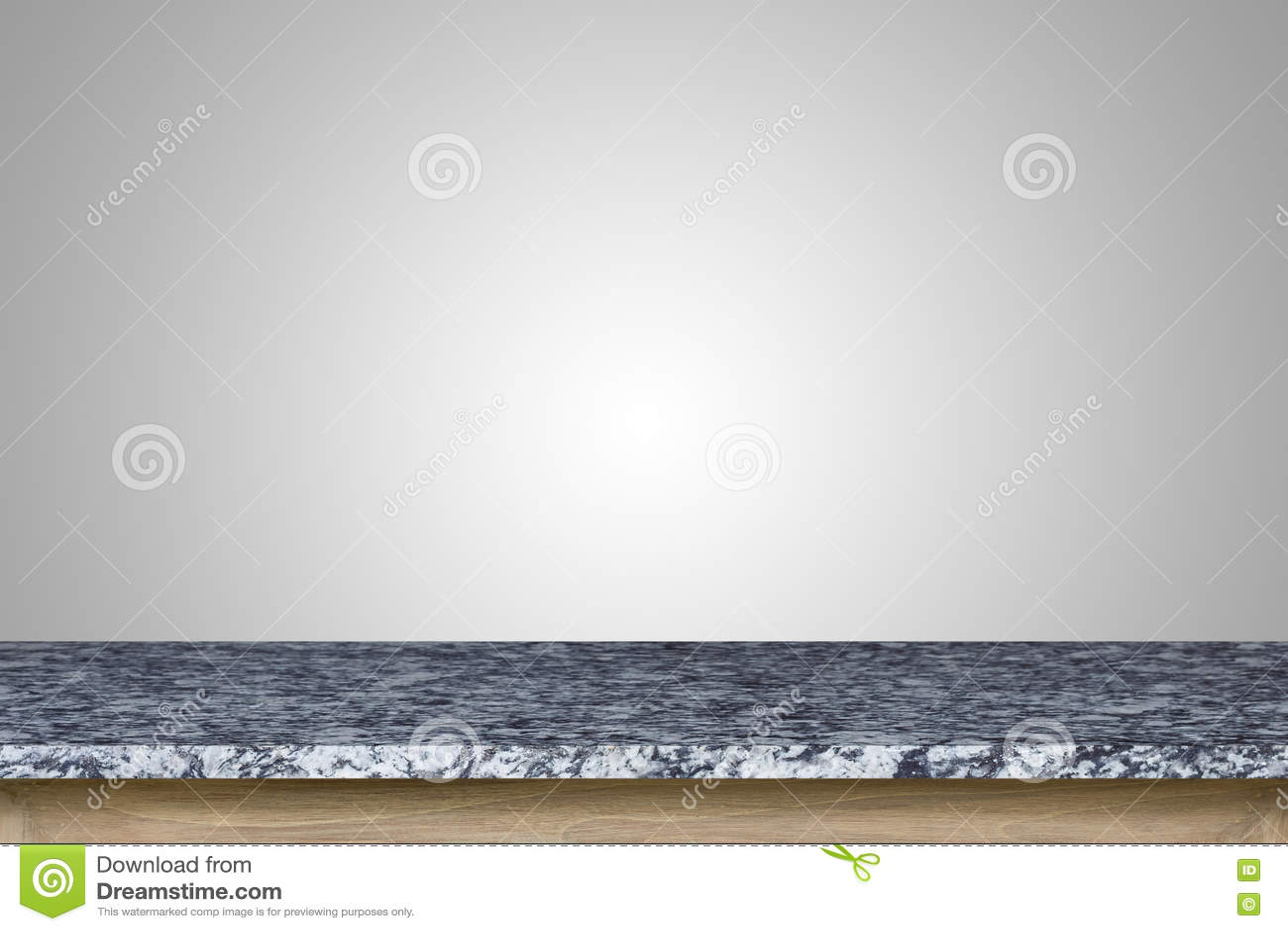 Tom överkant av granitstentabellen som isoleras på vit bakgrund