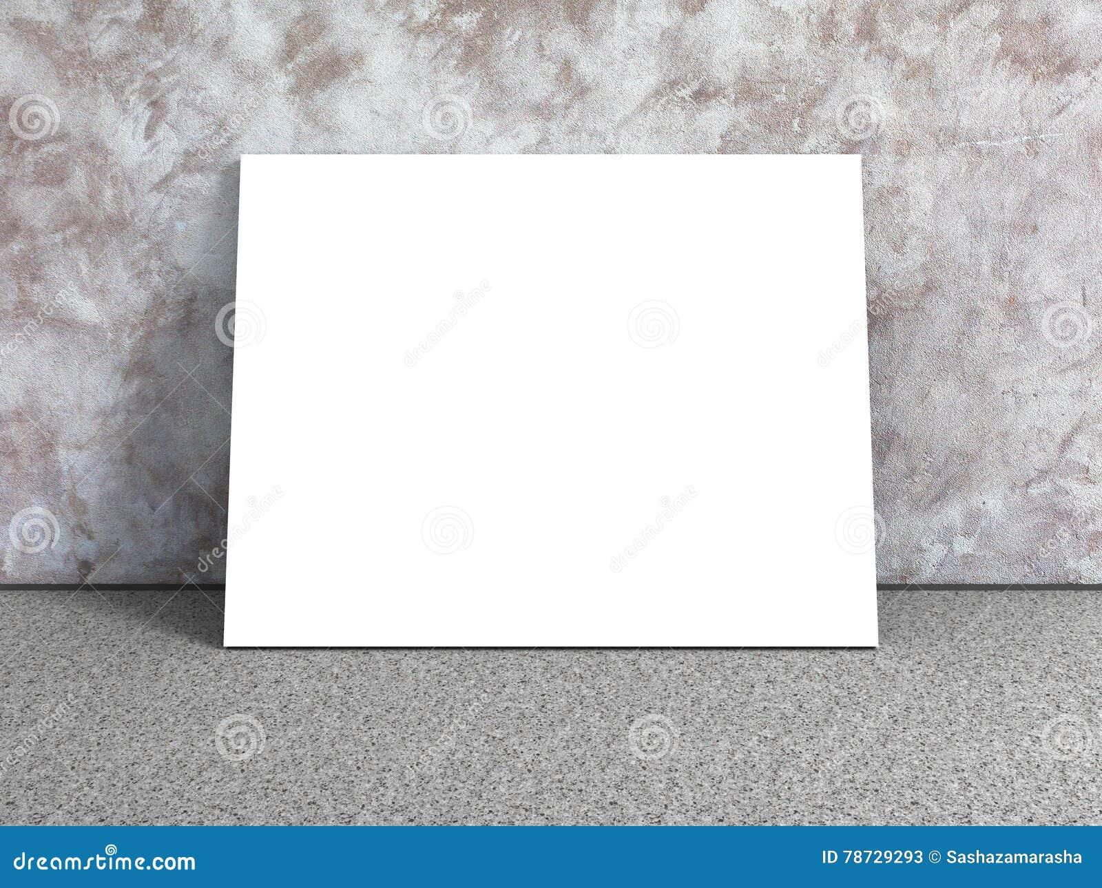 Tom affisch för vit i tomt stads- rum tät betong som skjutas upp väggen