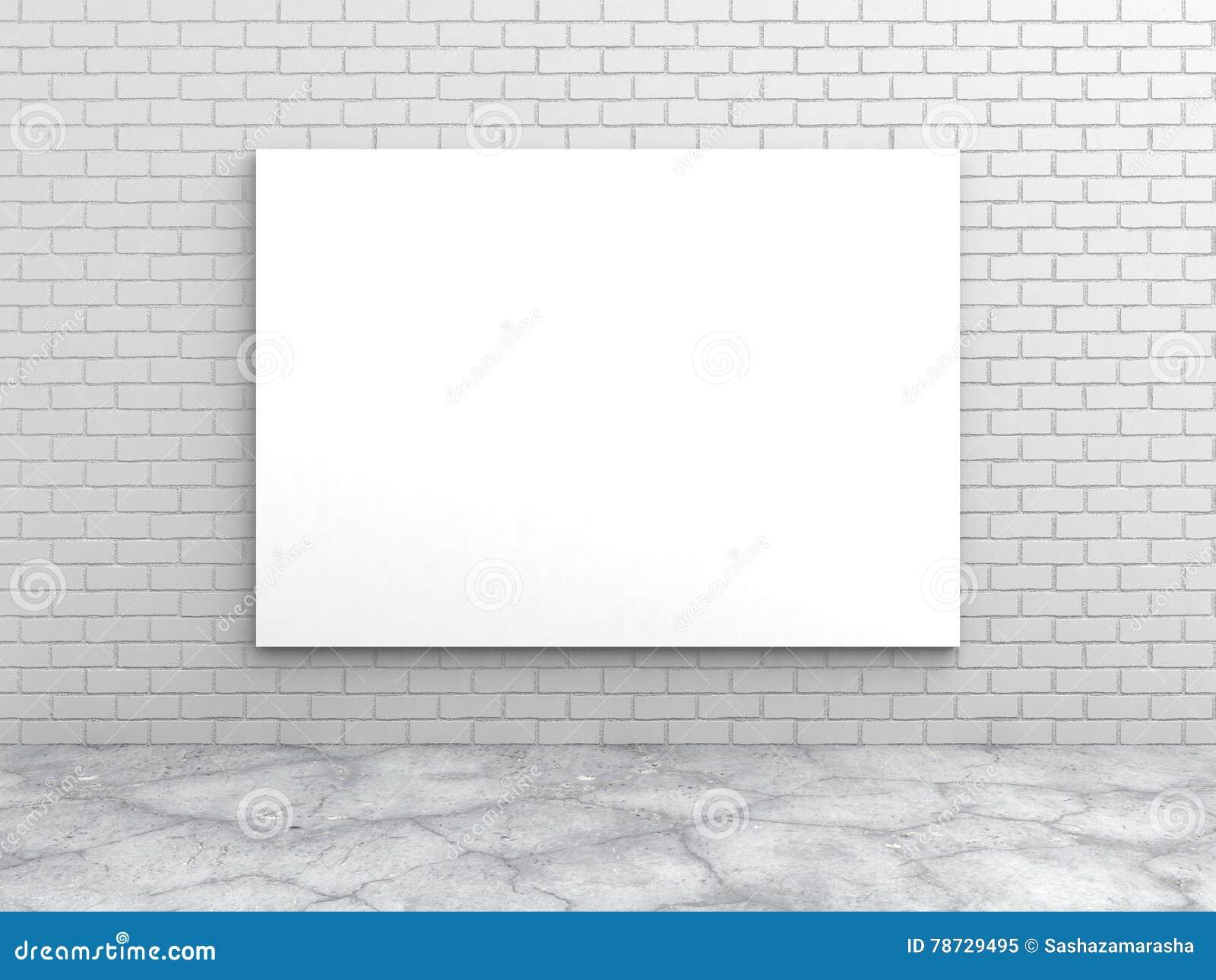 Tom affisch för vit på tegelstenväggen