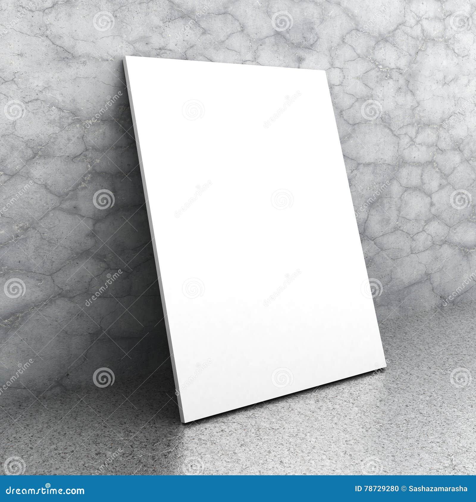 Tom affischaffischtavla för vit på betongväggen