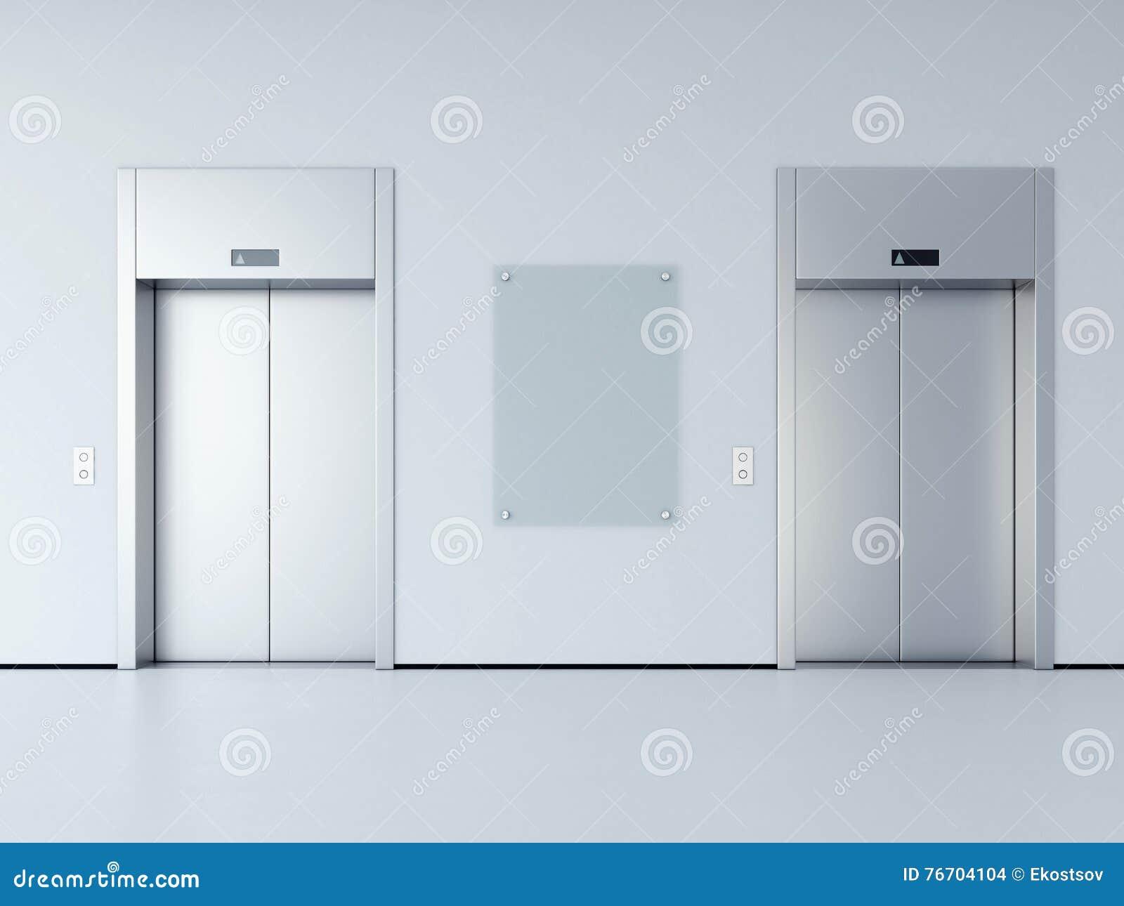 Tom affischtavla i korridoren med två hissar framförande 3d