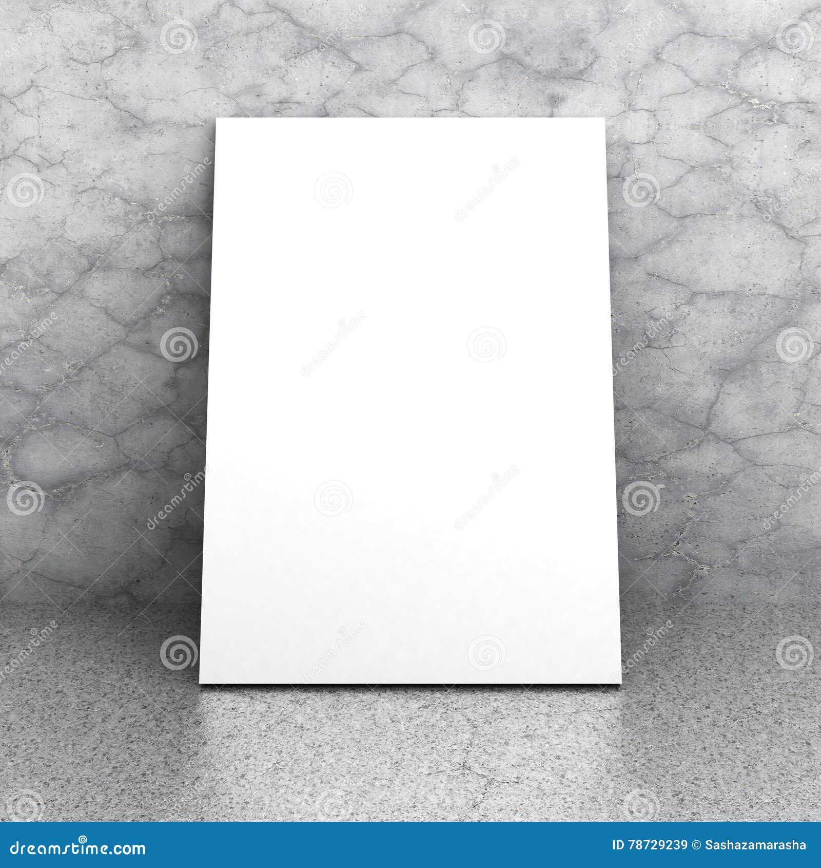 Tom affischtavlapostere för vit på den konkreta golv och väggen