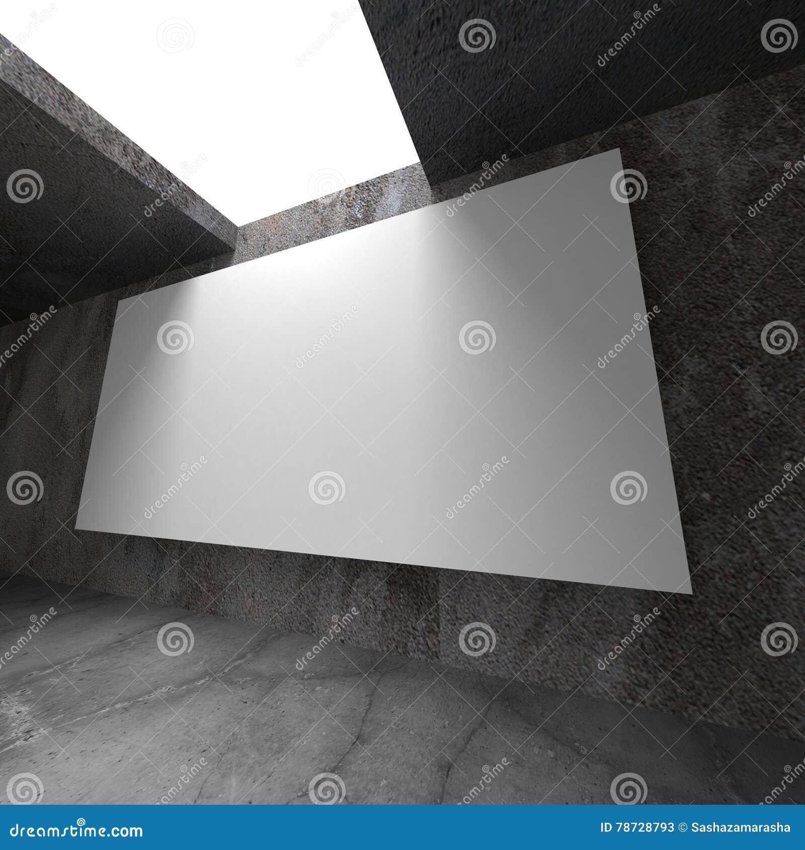 Tom baneraffischtavla för vit på betongväggen