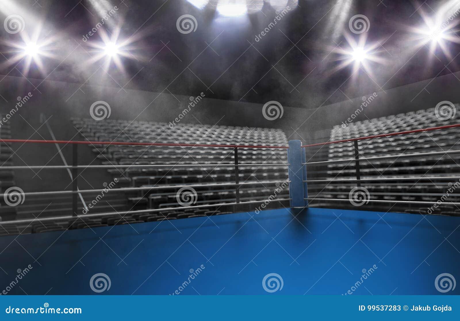 Tom boxningsring i arena, fläckljus, rök och mörkernattsc