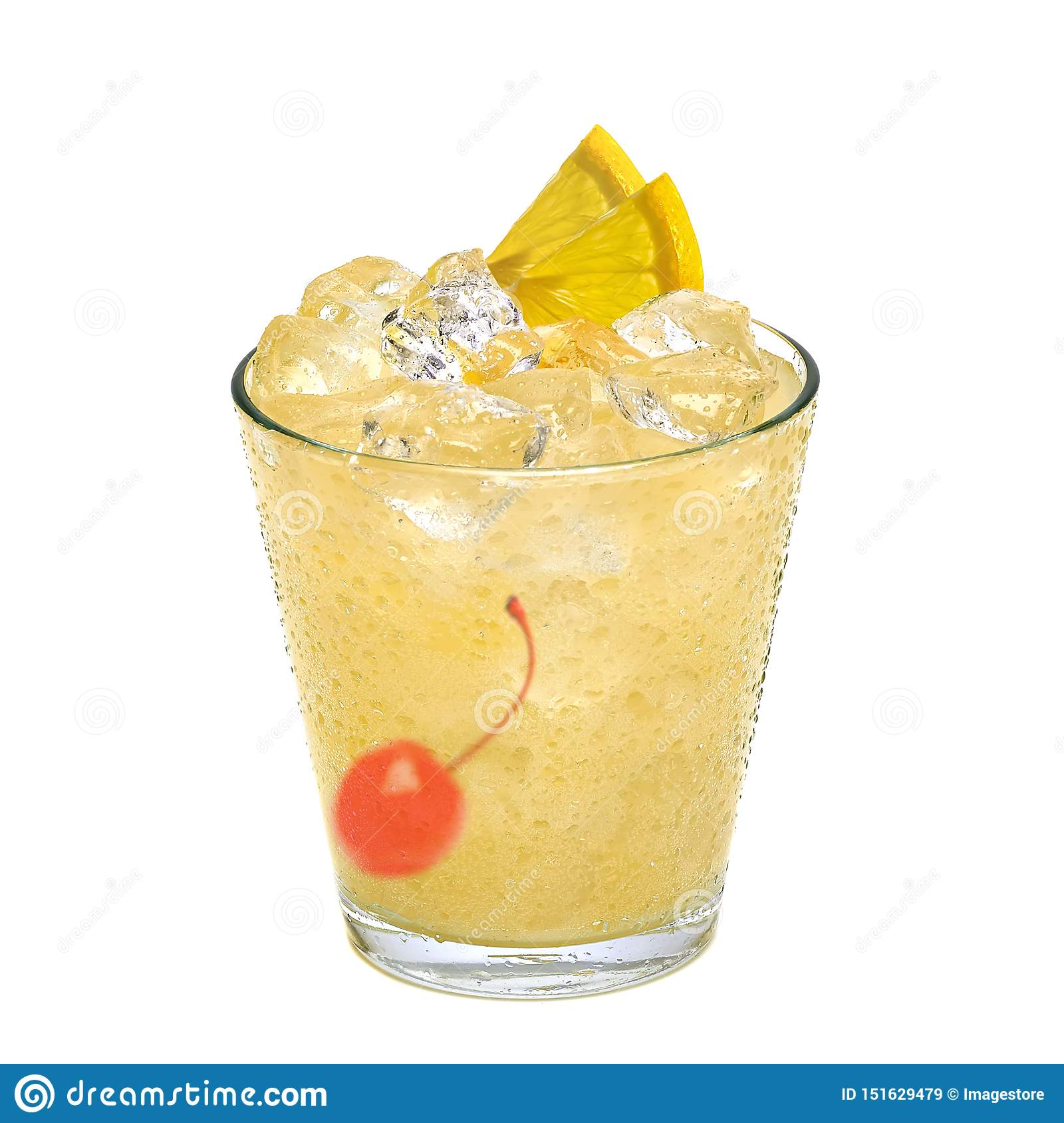 Tom Collins Or Whiskey Sour Cocktail Stock Image Image Of Classic Decorated 151629479
