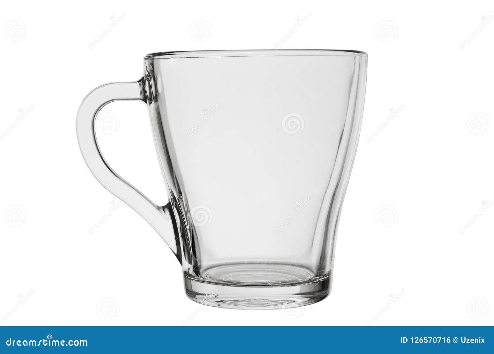 Tom glass kopp med handtaget för te av kaffe eller andra varma drinkar som isoleras på en vit bakgrund
