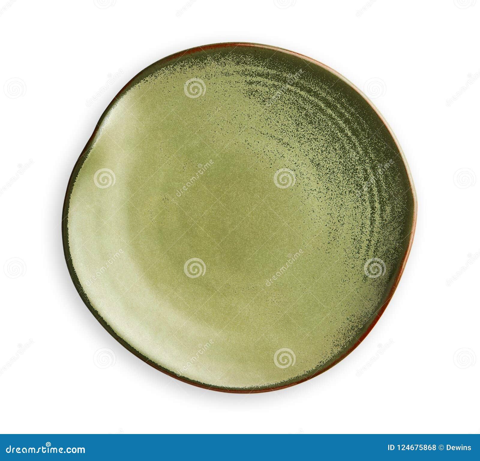 Tom grön platta med den krabba kanten, med rysch och pysch platta i den krabba modellen, sikt från över som isoleras på vit bakgr