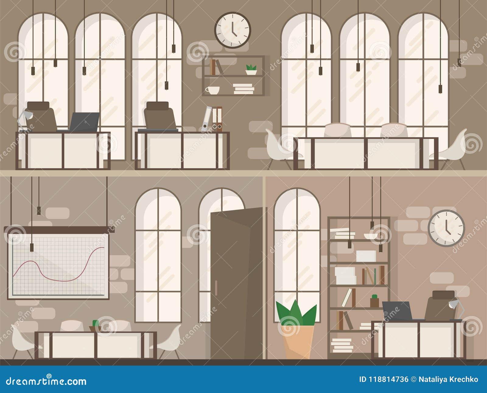 Tom illustration för vektor för lägenhet för utrymme för arbetsplats för kontorsutrymme inre modern