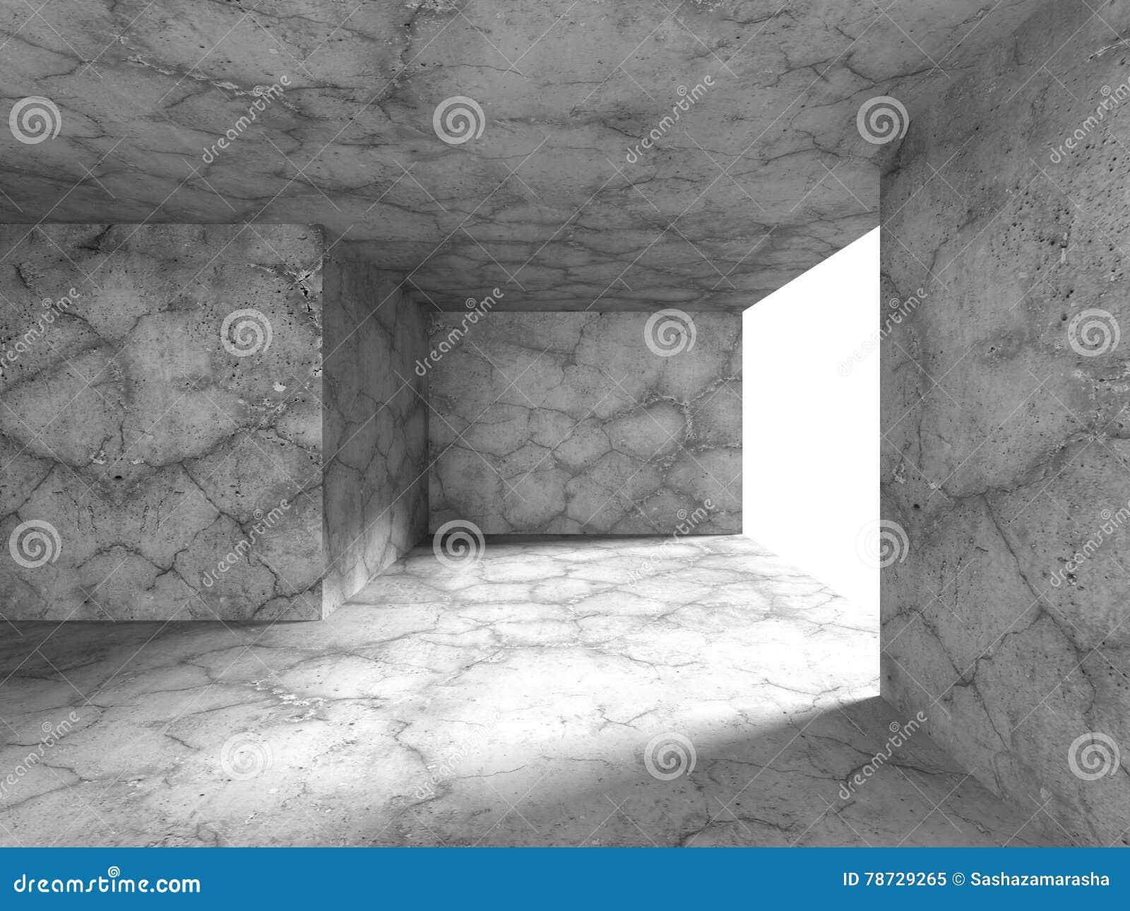 Tom inre för mörkt rum för betongväggar
