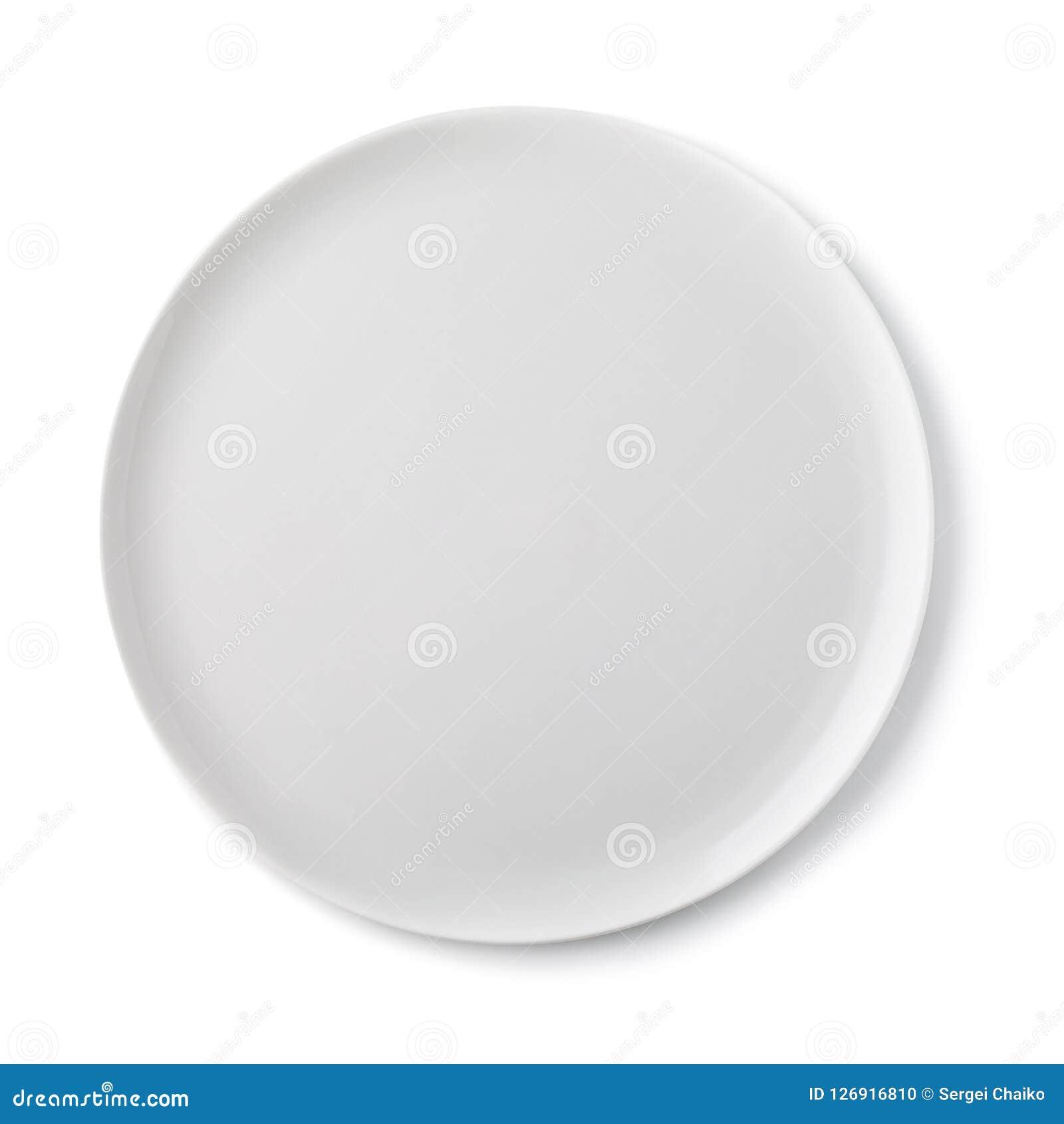 Tom keramisk platta av vit färg, bästa sikt av som isoleras