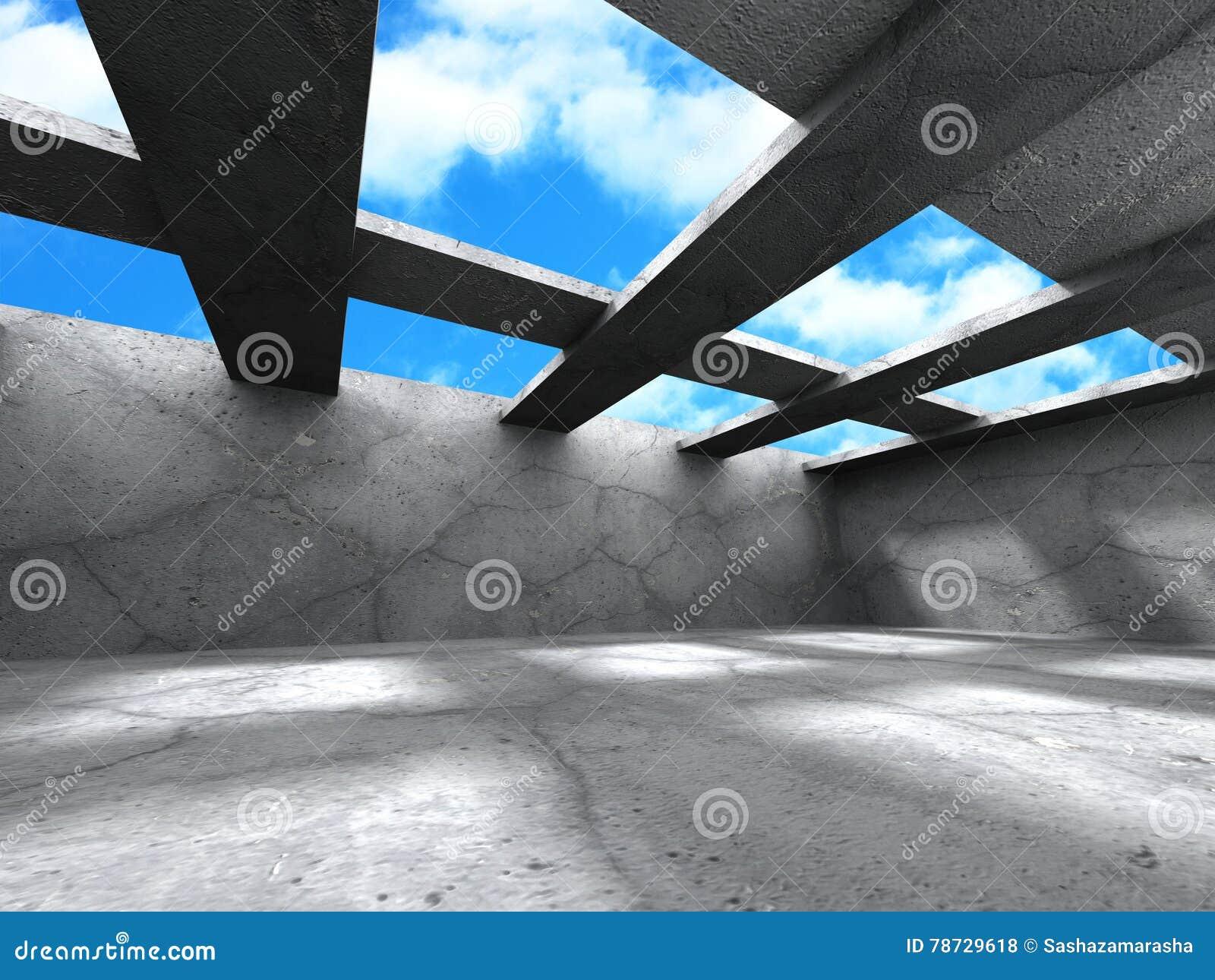 Tom konkret ruminre med strålar på himmelbakgrund
