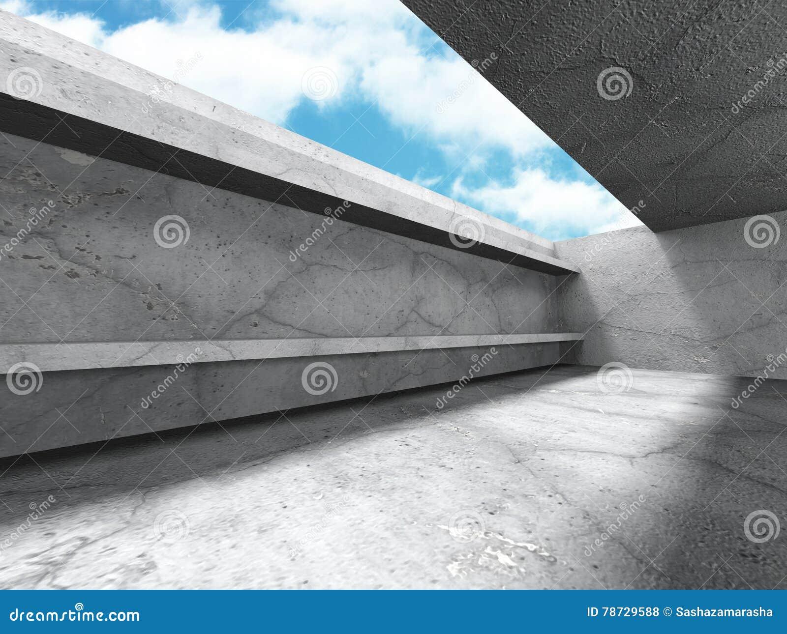 Tom konkret ruminre med takfönstret till himmel