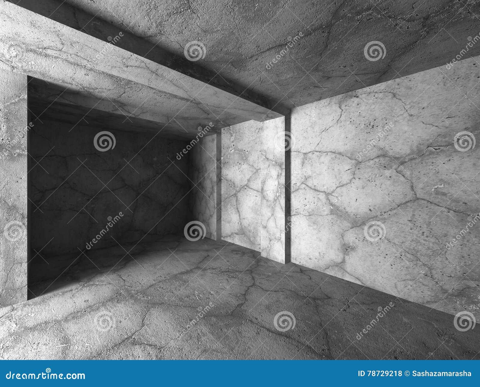 Tom mörk betongväggruminre Modern arkitekturbac