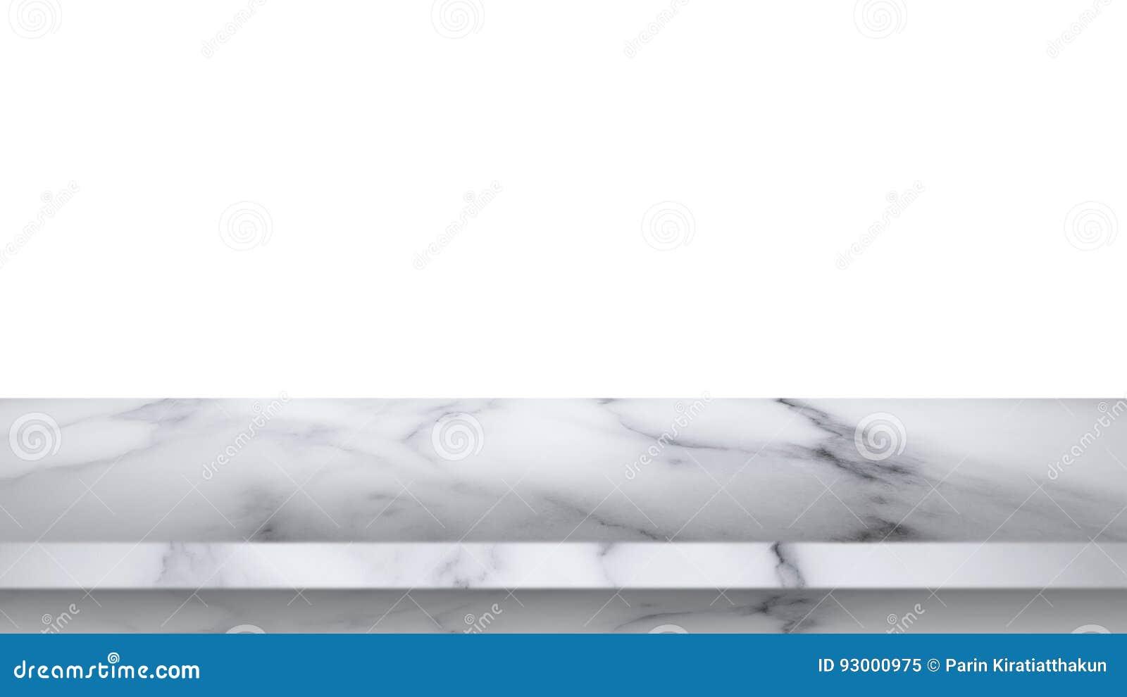 Tom marmortabell som isoleras på vit bakgrund