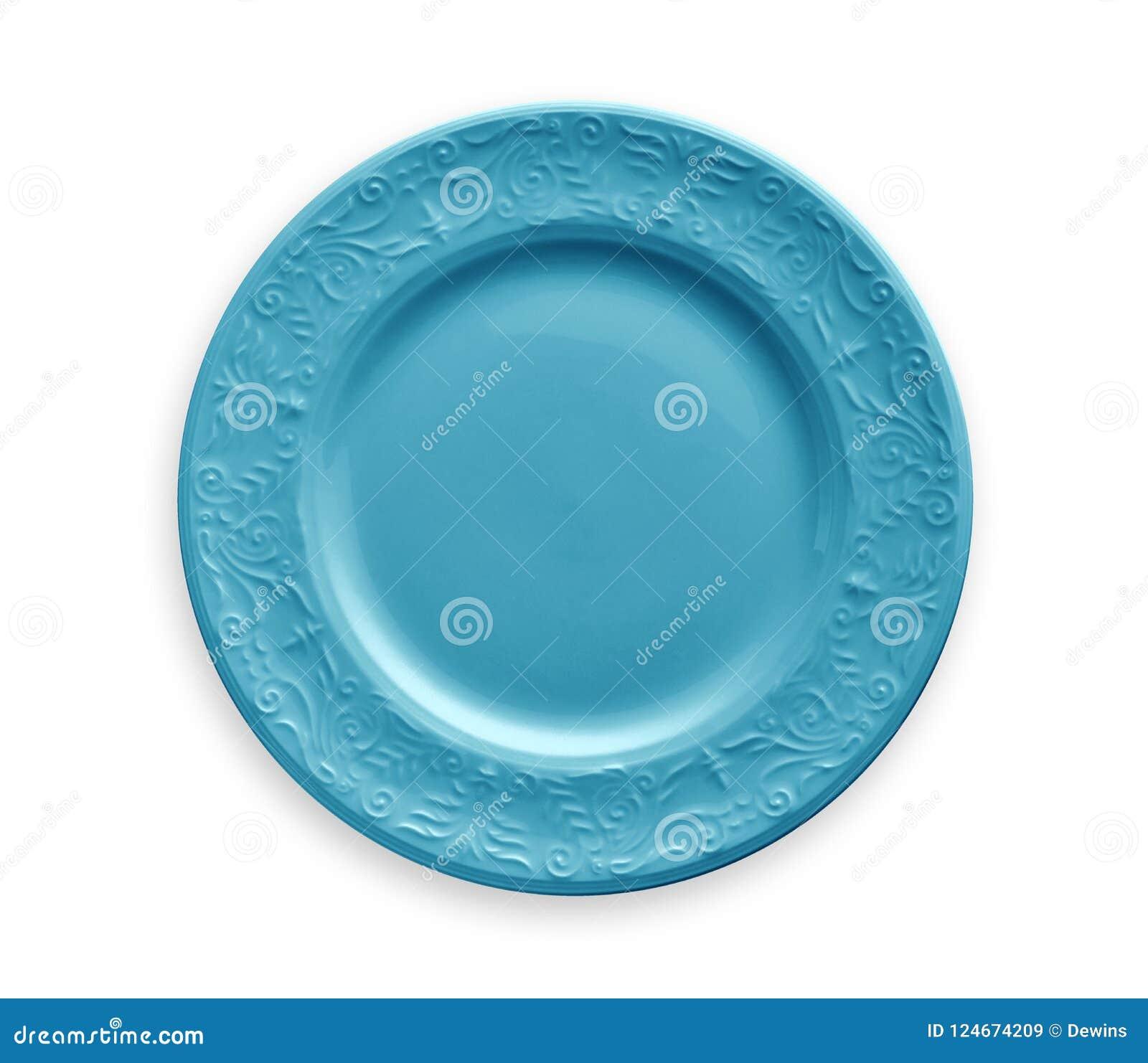 Tom platta med den blåa blom- modellkanten, sikt från över som isoleras på vit bakgrund med den snabba banan
