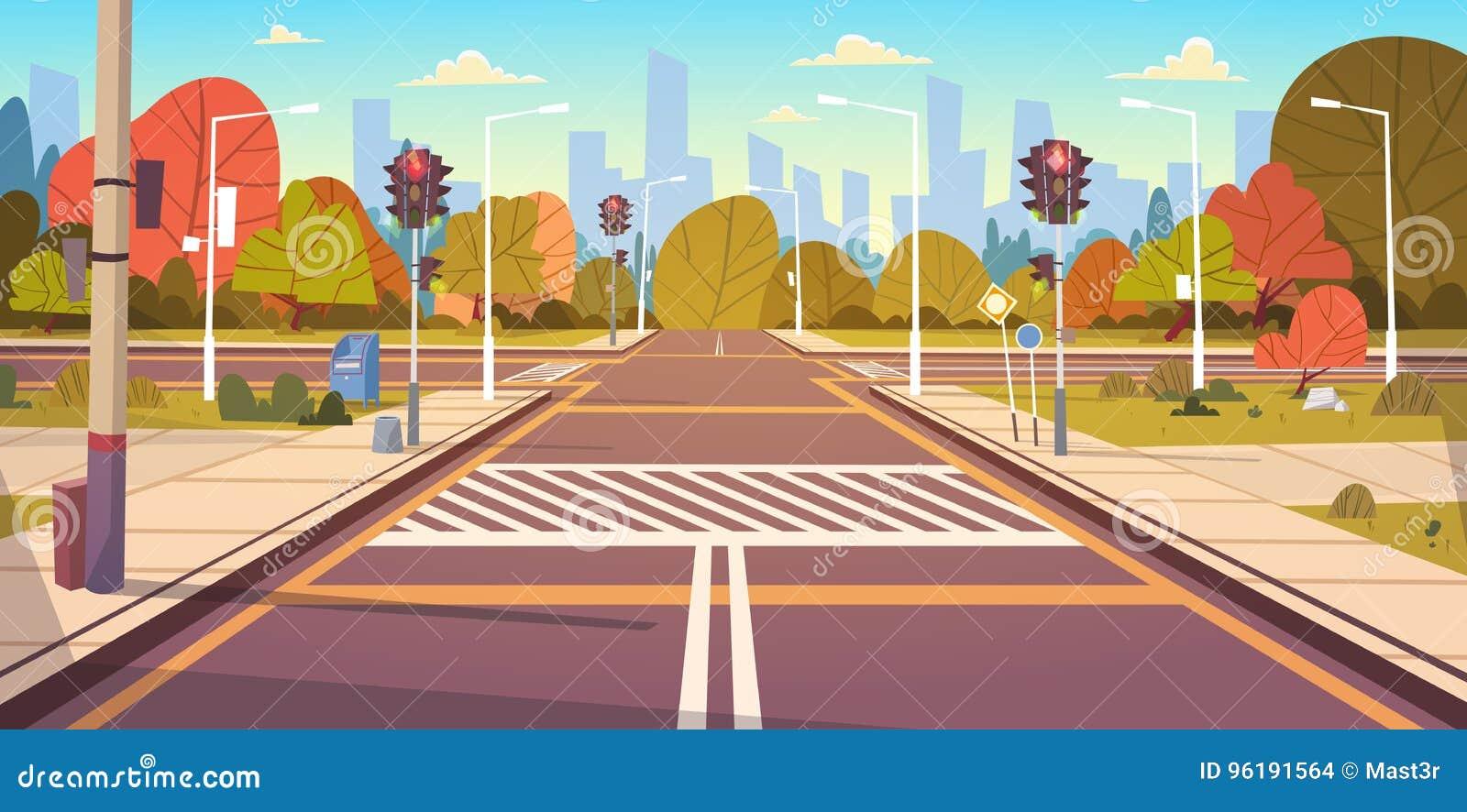 Tom stadsgata för väg med övergångsställe och trafikljus