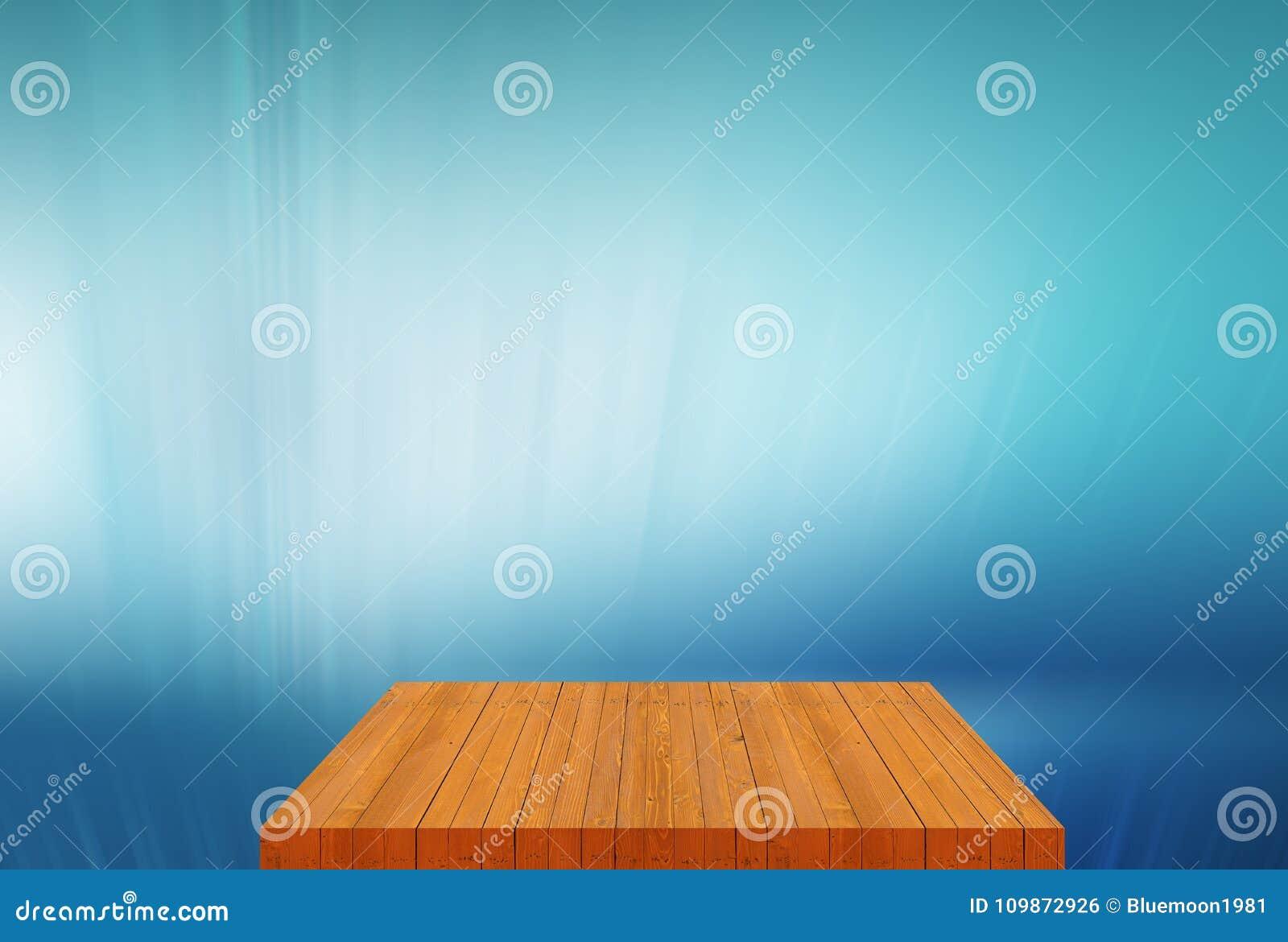 Tom tabellöverkant för träbräde med begrepp för slättblåttbakgrund