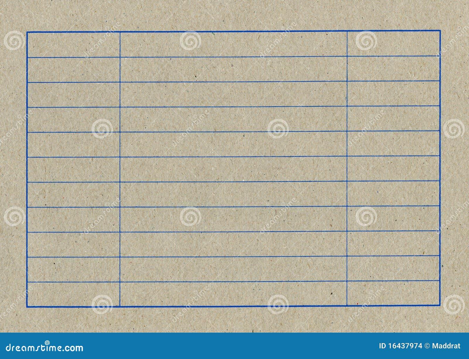 Tom tabell för papp