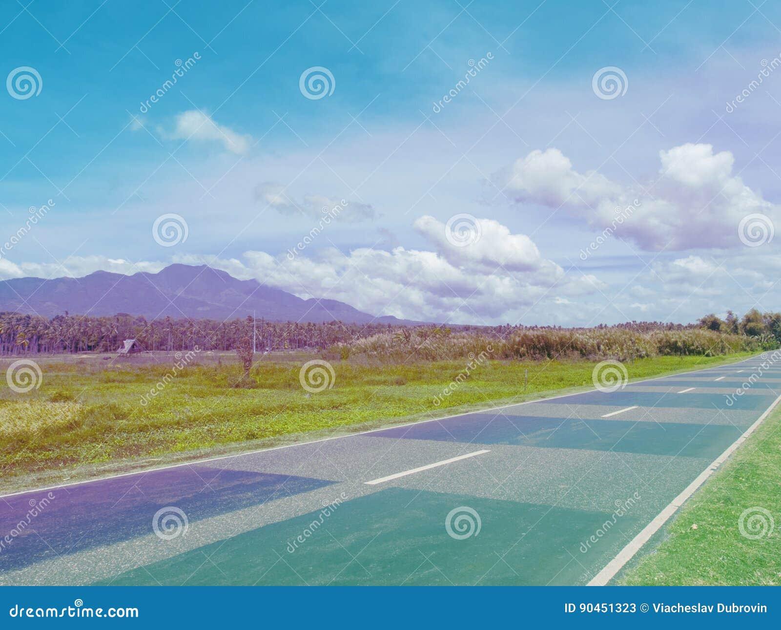 Tom väg i grönt sommarfält Tropiskt gömma i handflatan skogen och berget Rosa färger och blått tonat foto