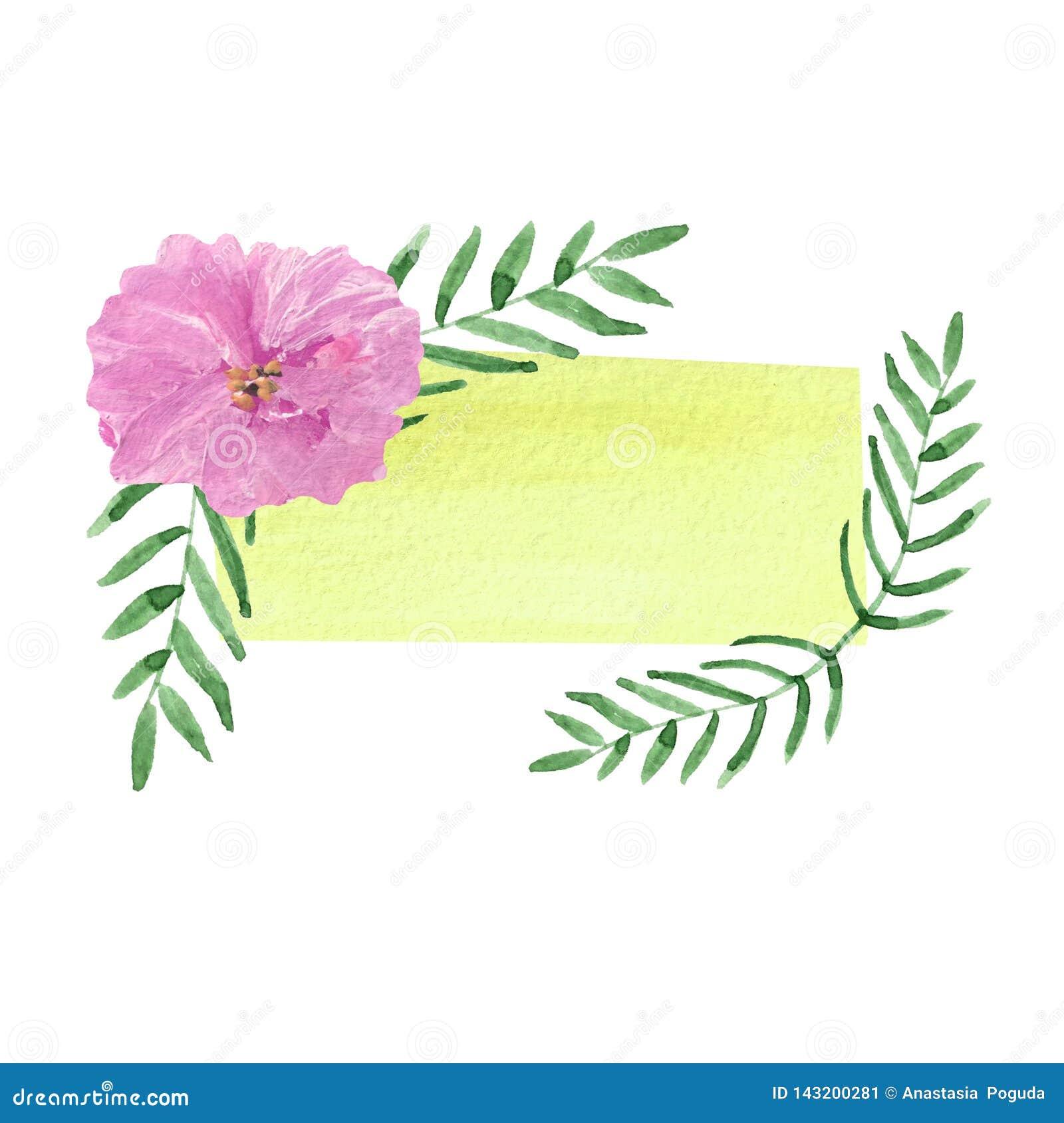 Tom vattenfärgmall av gul färg med den rosa blomman och gröna sidor