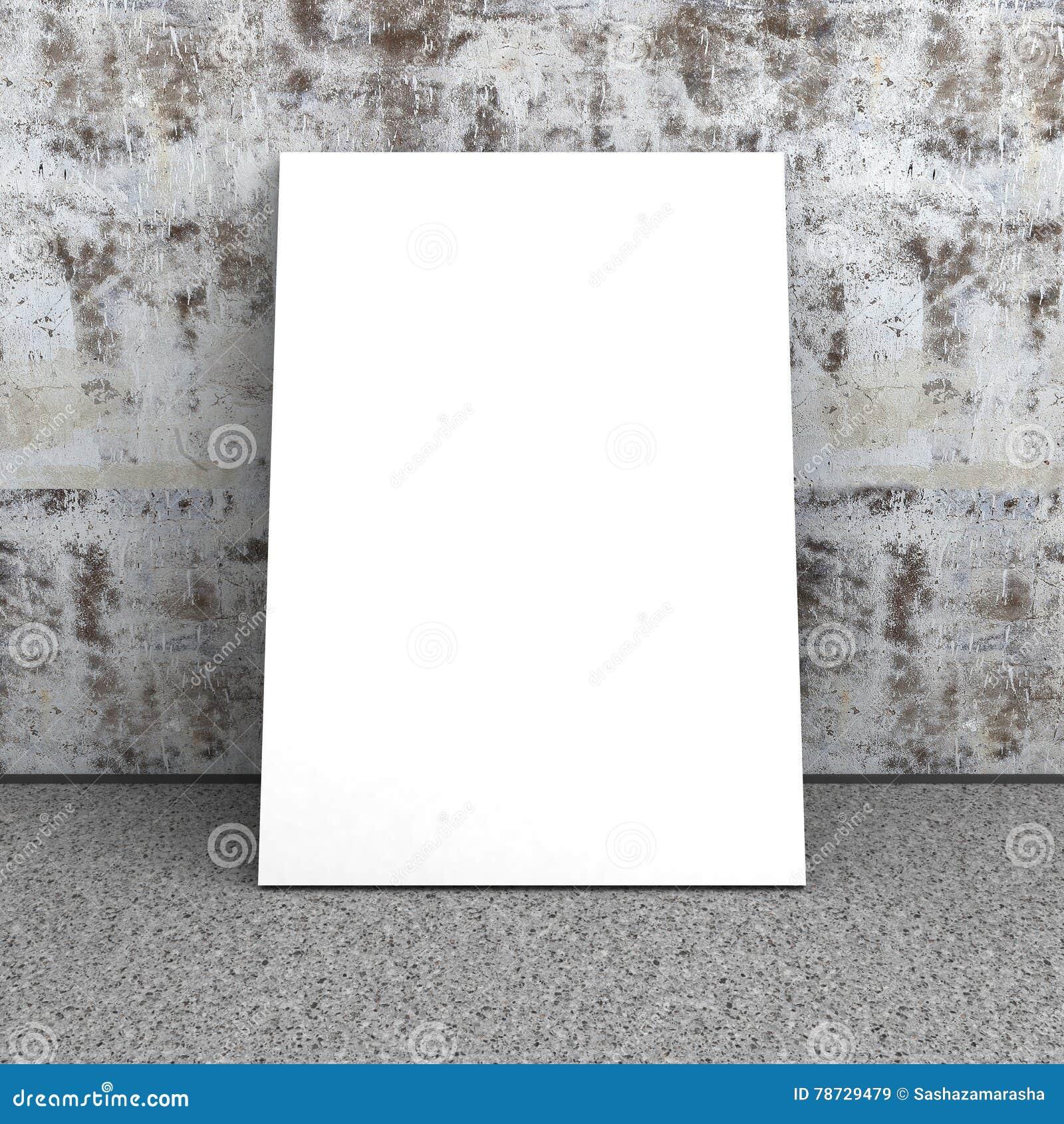 Tom vit affisch i tom inre Betongvägg stengolv