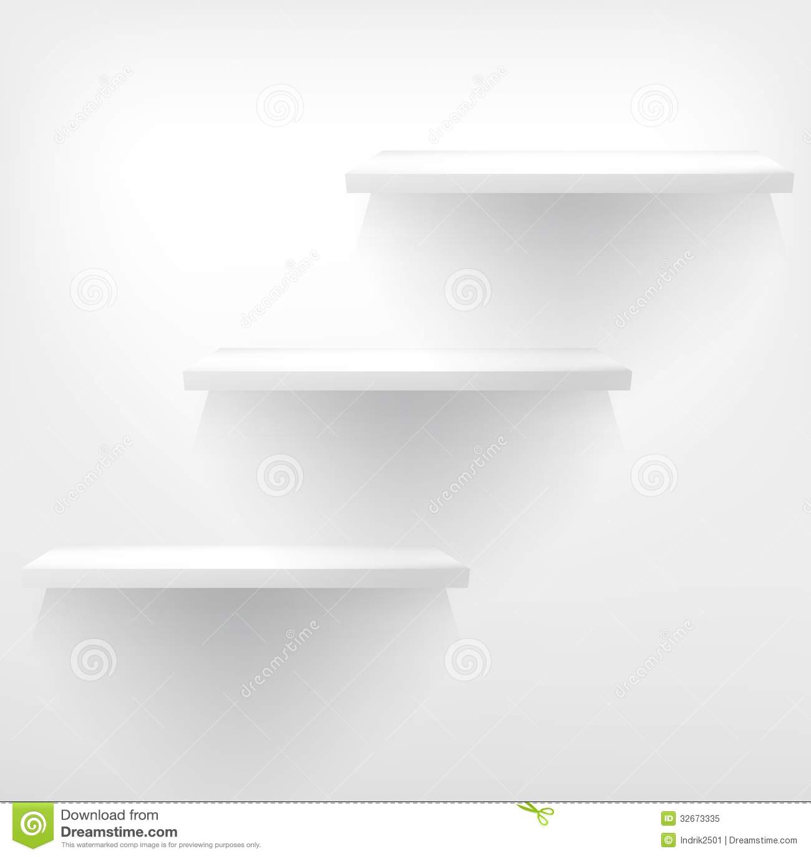 hylla på engelska ~ tom vit hylla som hänger på en vägg royaltyfri foto