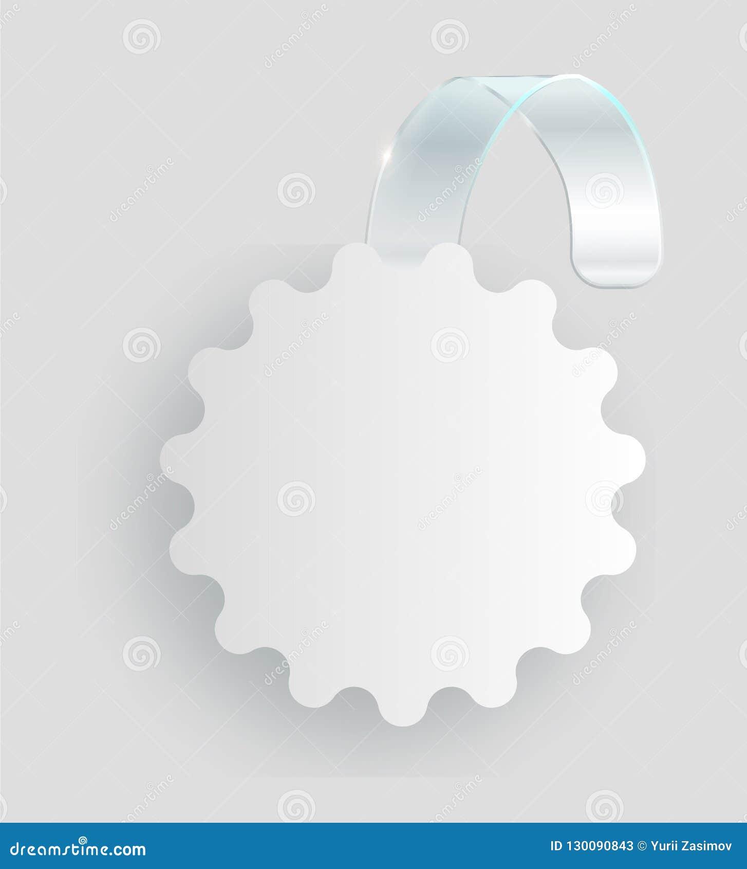 Tom vit wobblerhängning på väggåtlöje upp, tolkning 3d Göra mellanslag den runda pappers- modellen på plast- genomskinlig remsa c