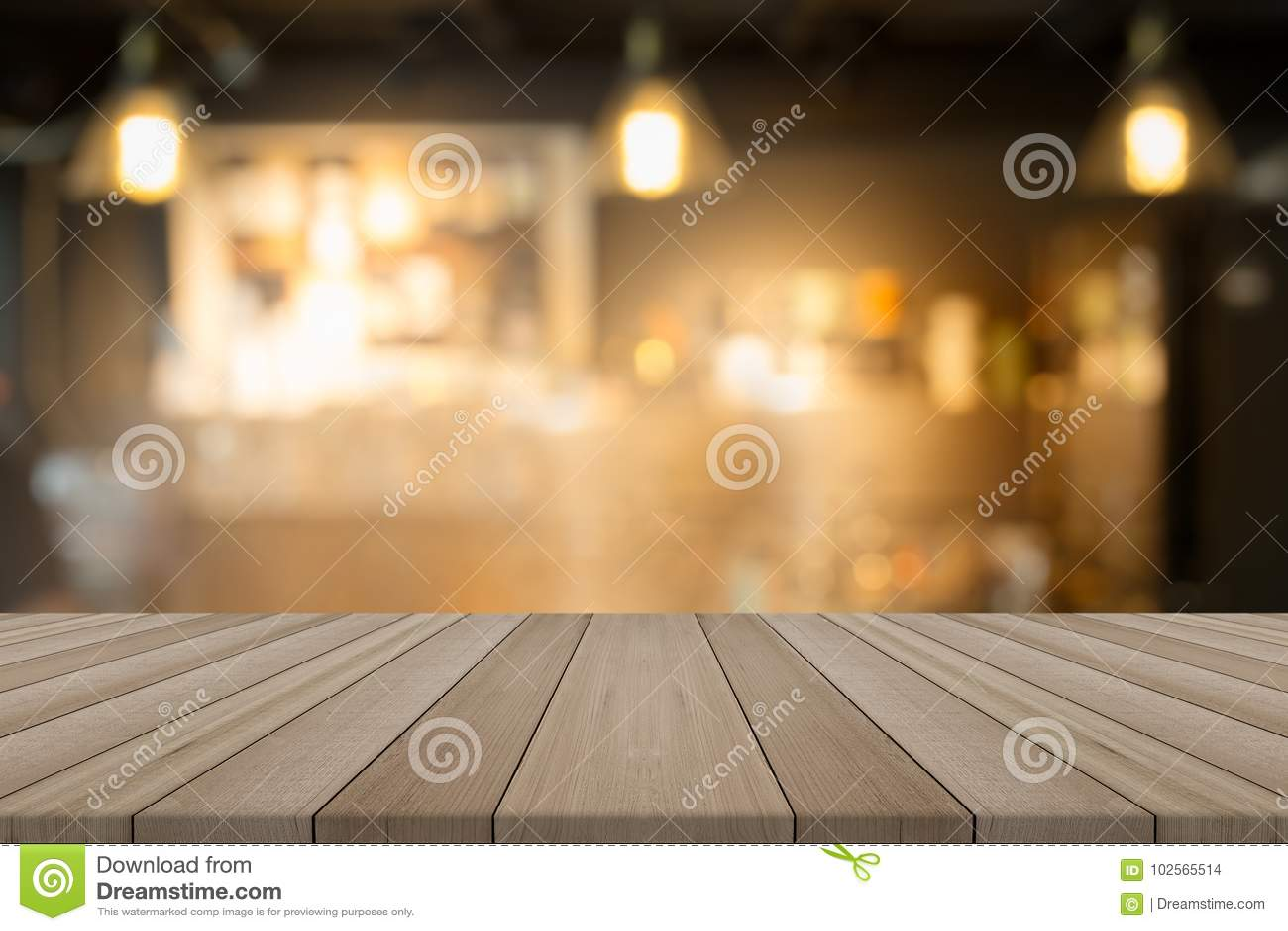 Tom wood tabellöverkant på suddig bakgrundsformcoffee shop